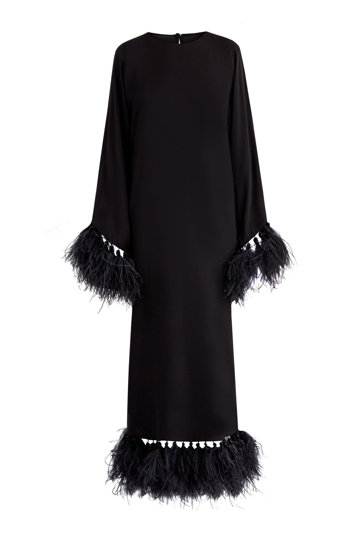 Платье из натурального шелка с выполненной вручную отделкой перьями