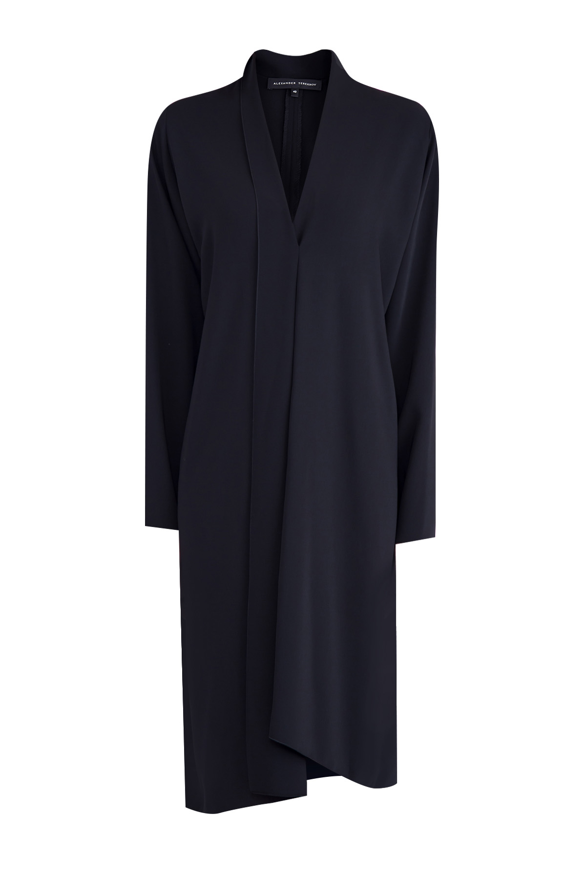 Купить Классическое платье асимметричного кроя с шалевым воротом, ALEXANDER TEREKHOV, Россия, полиэстер 100%