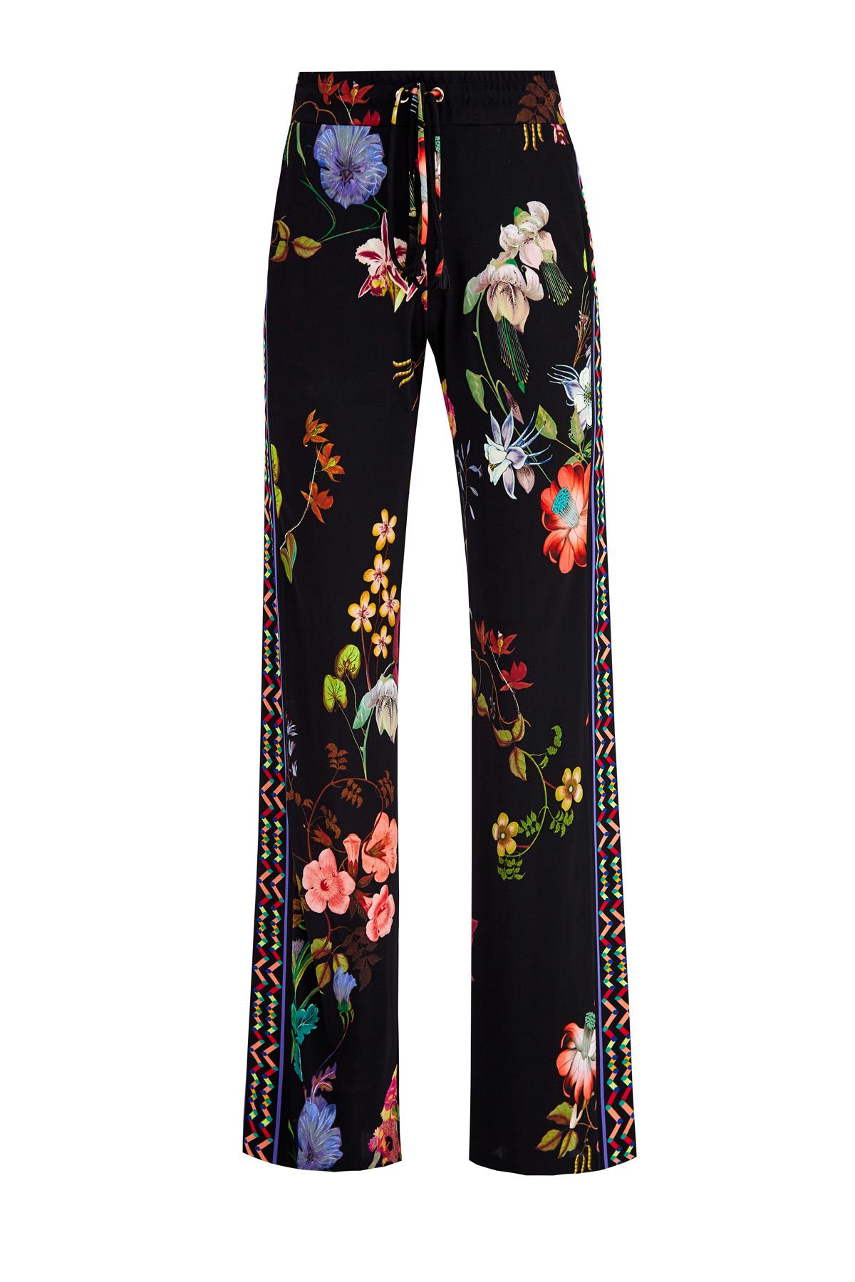 Купить Брюки из струящейся ткани с цветочным принтом и лампасами, ETRO, Италия, вискоза 100%