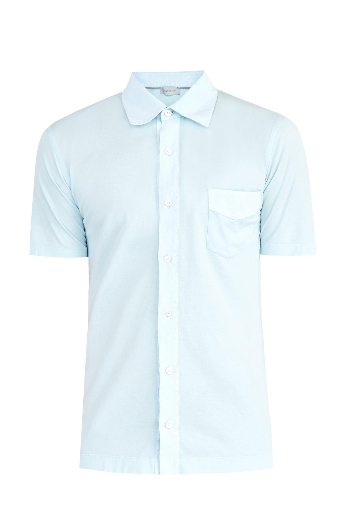 Однотонная рубашка в классическом стиле из хлопкового джерси
