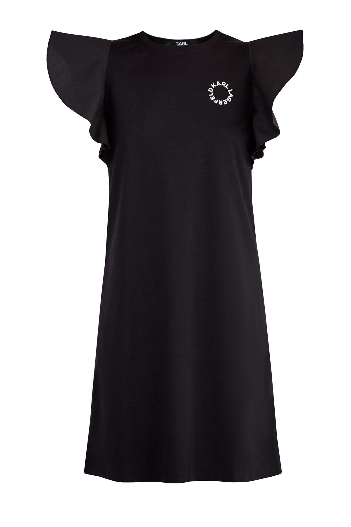 Купить со скидкой Платье из хлопкового джерси с рукавами-оборками из тафты