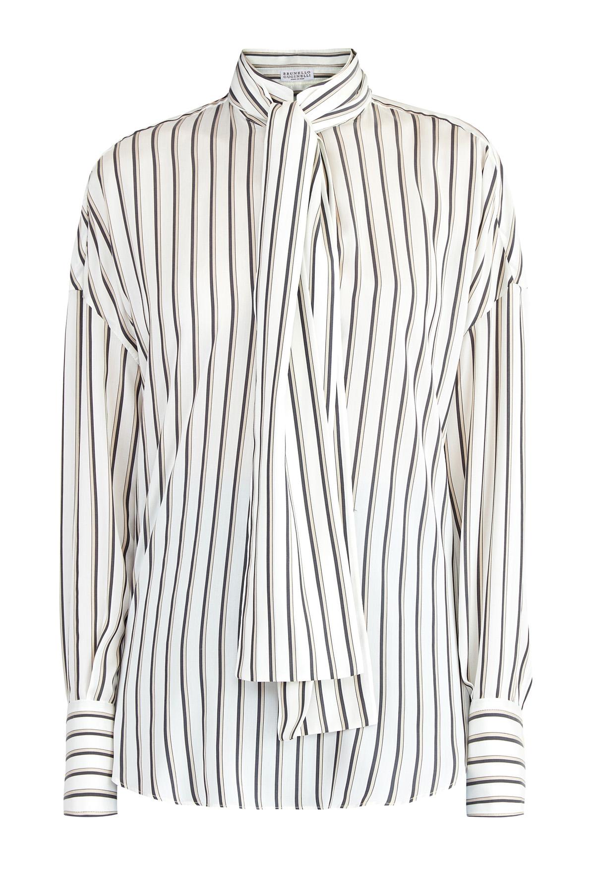 Купить со скидкой Шелковая блуза сдублирующей полоской илентой-галстуком