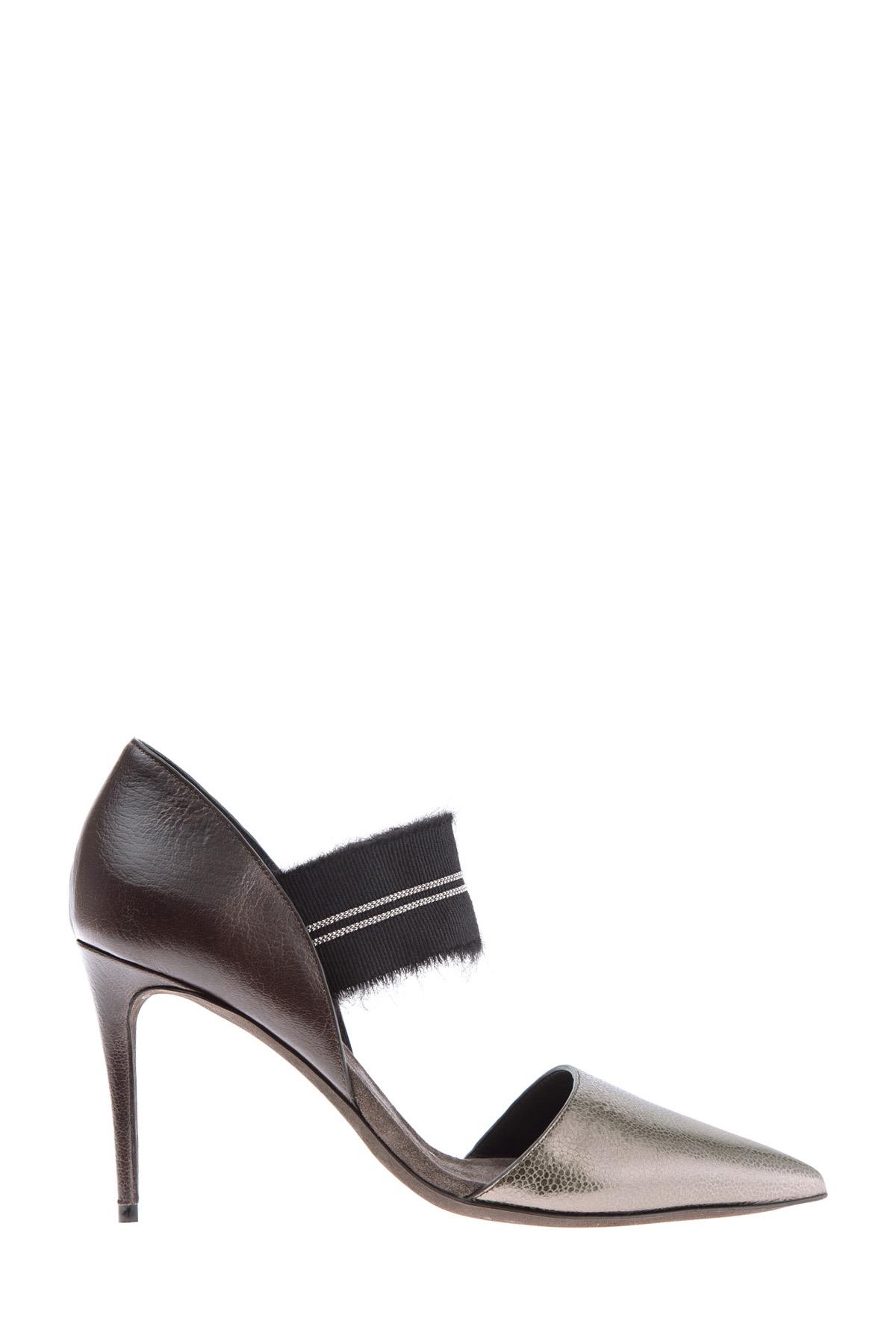 Туфли на каблуке-шпильке из кожи Broken Glass с металлическим блеском