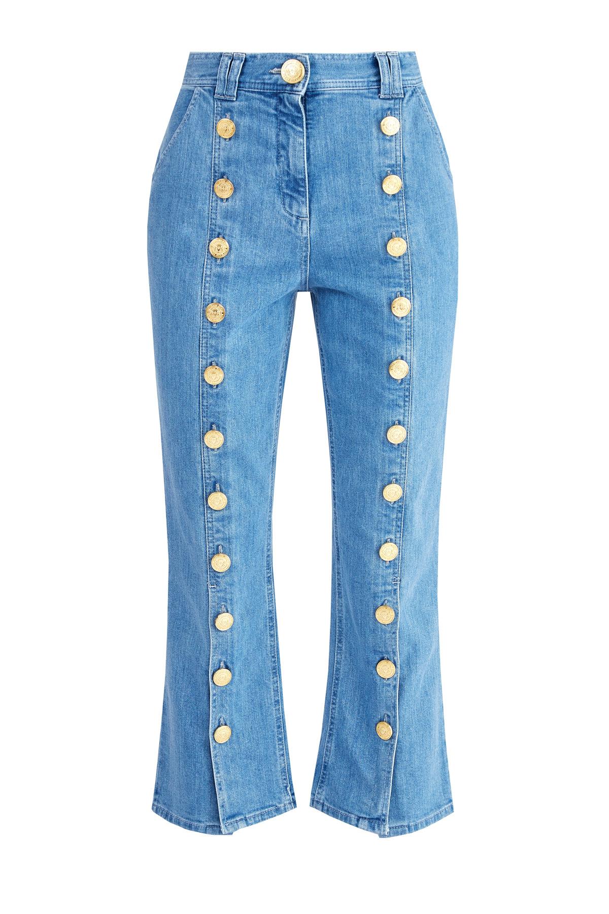 Расклешенные джинсы длины ⅞ с отделкой фирменными пуговицами