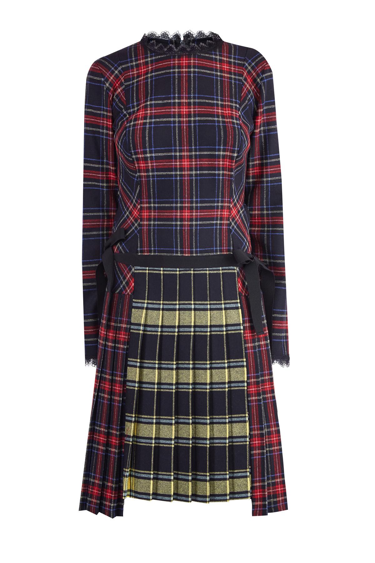 Купить со скидкой Клетчатое платье из шерстяной ткани с контрастными вставками