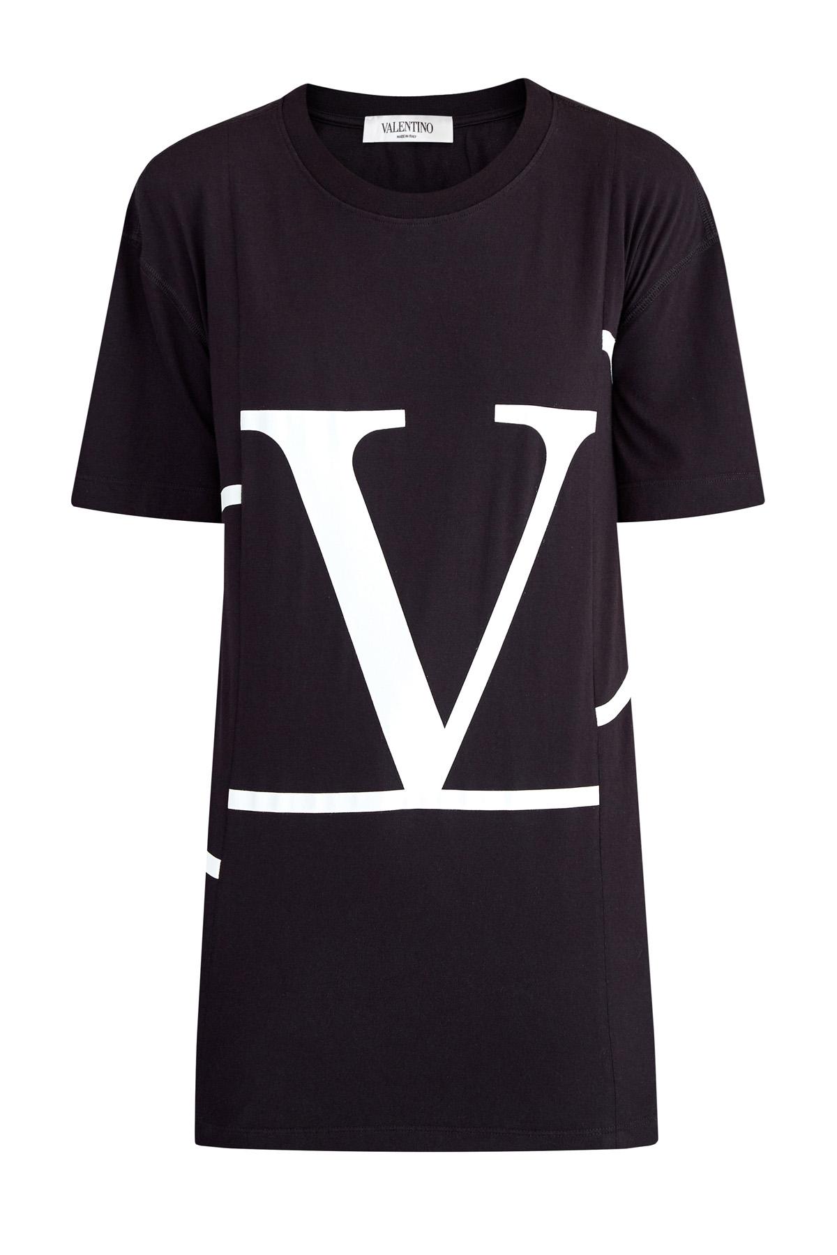 Oversize-футболка из хлопка с макро-аппликацией VLOGO
