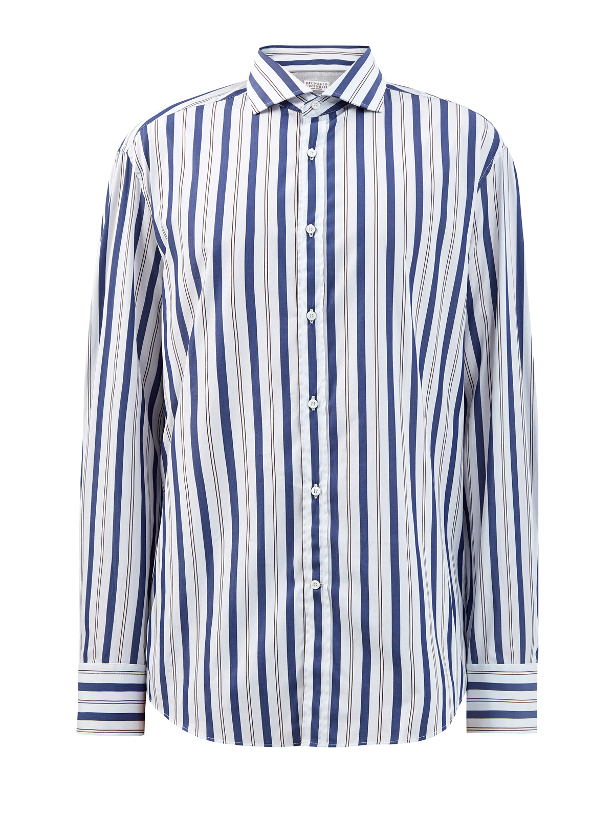 Рубашка из хлопкового поплина с принтом в полоску