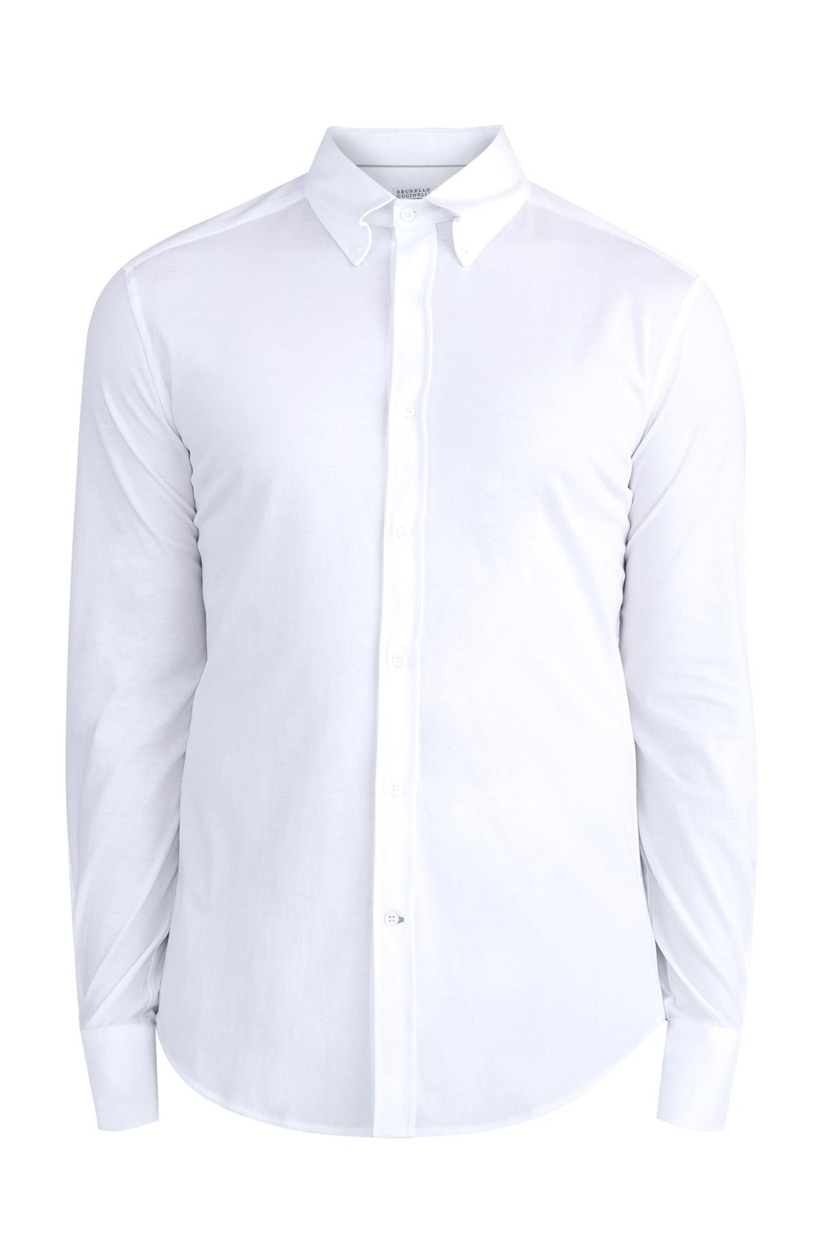 Купить Рубашка с отложным воротником Button Down на пуговицах, BRUNELLO CUCINELLI, Италия, хлопок 100%