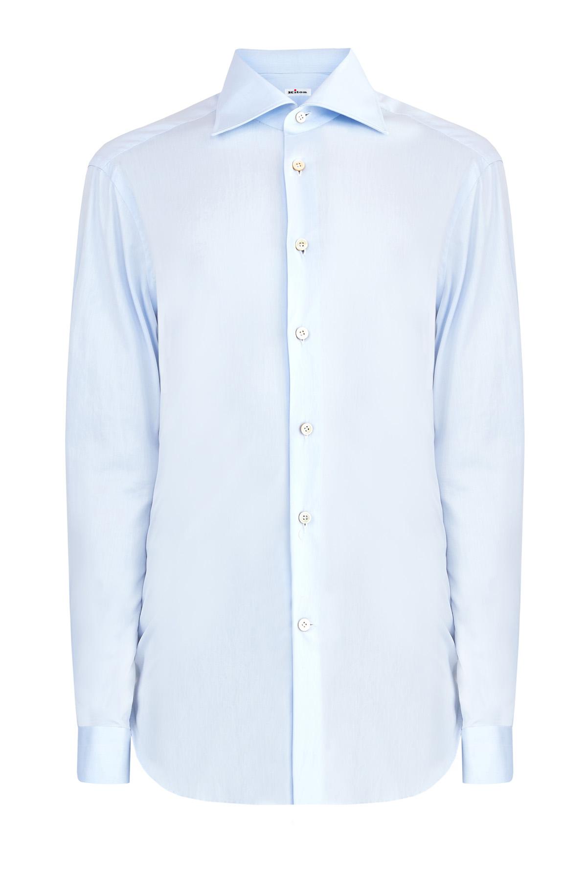Рубашка из тонкого хлопкового денима в классическом стиле фото