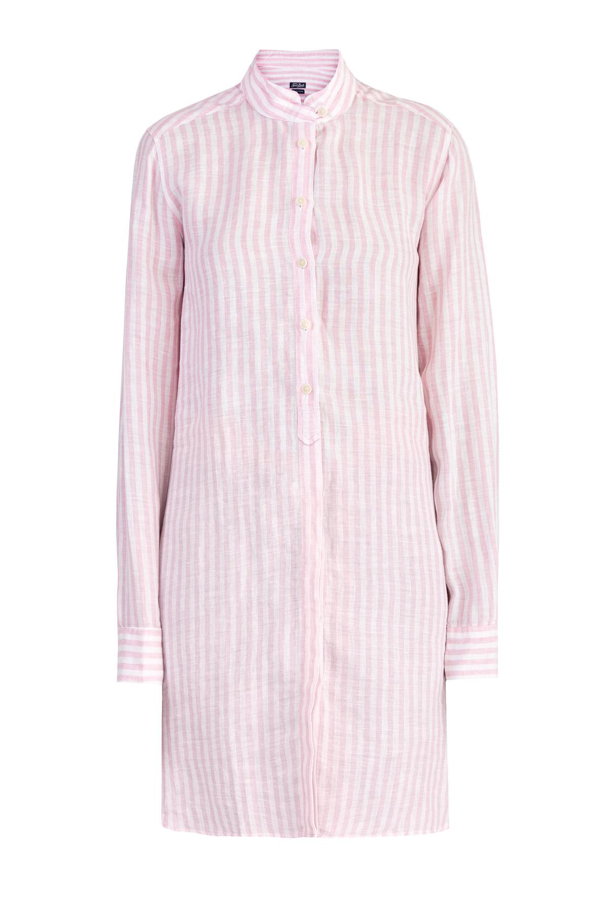 Купить со скидкой Удлиненная приталенная рубашка из льна с принтом в полоску