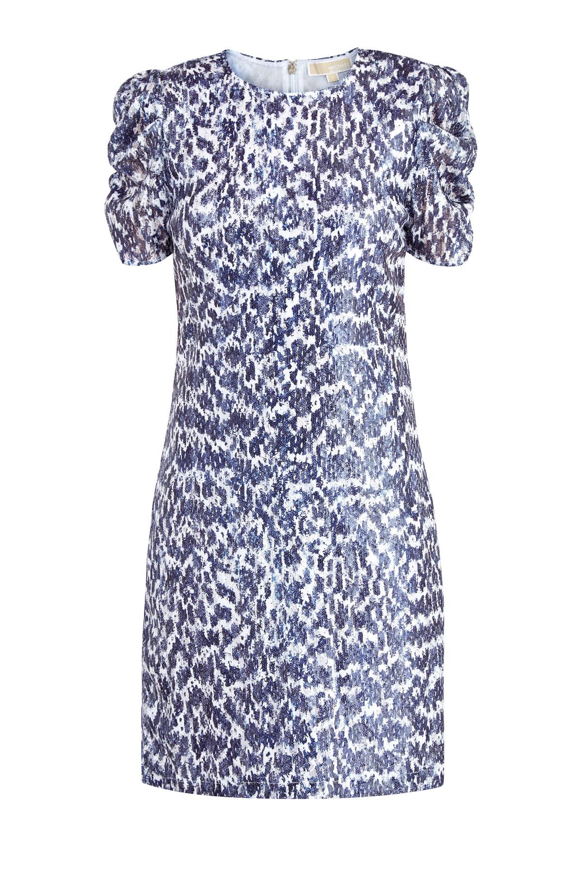 Расшитое пайетками платье с анималистичным принтом