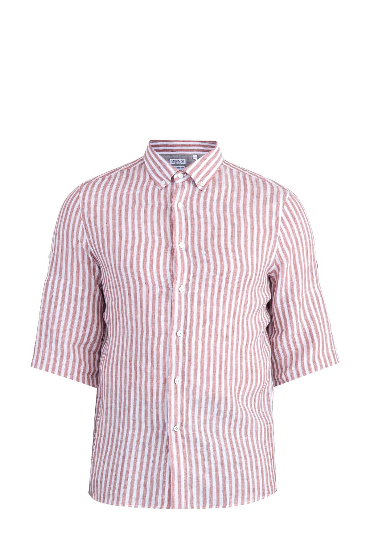 Купить Рубашка в неформальном стиле Leisure с короткими рукавами, BRUNELLO CUCINELLI, Италия, лен 100%