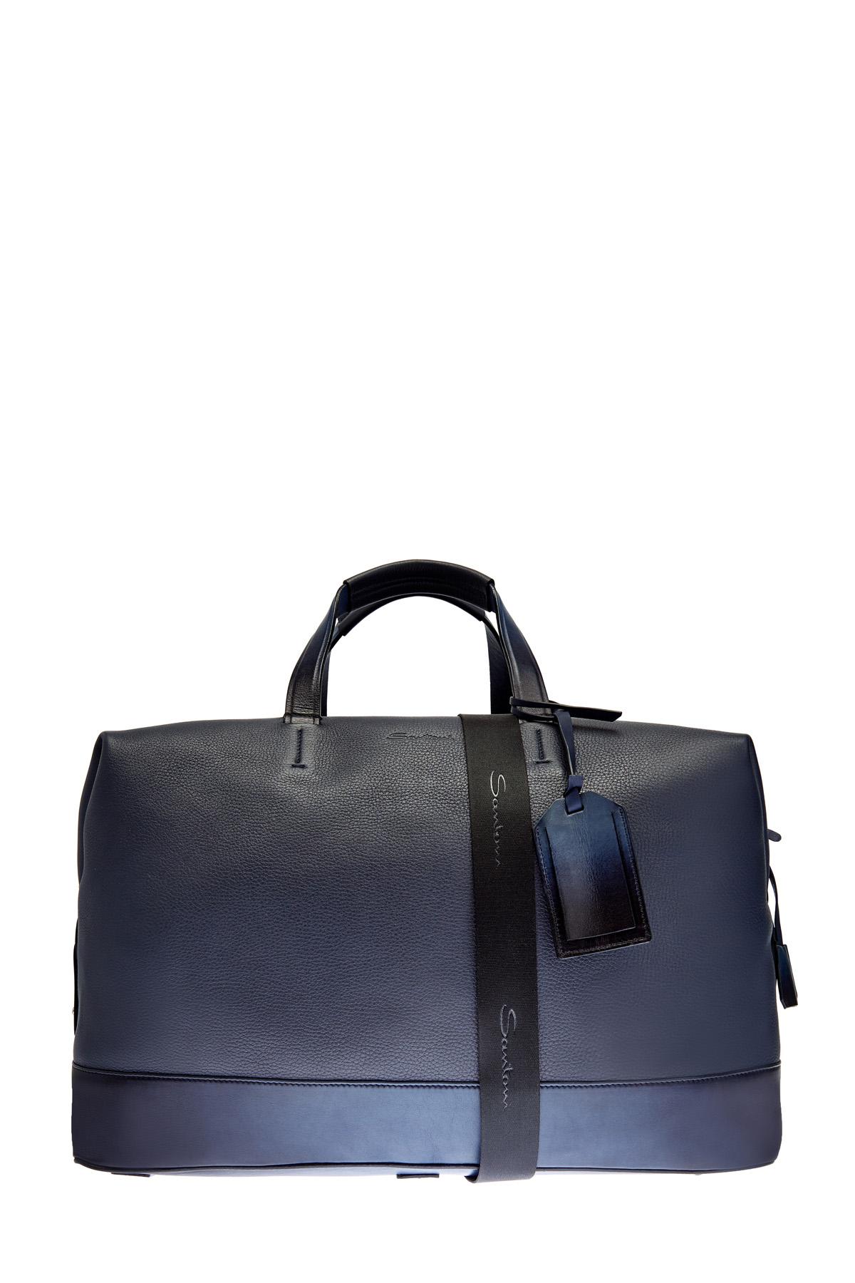 Дорожная сумка из крупнозернистой кожи с плечевым ремнем фото
