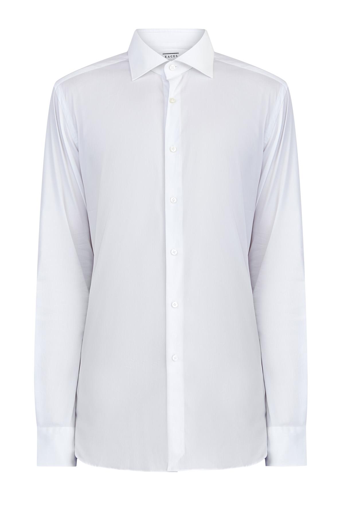 Классическая белая рубашка из поплина stretch кроя по фигуре фото