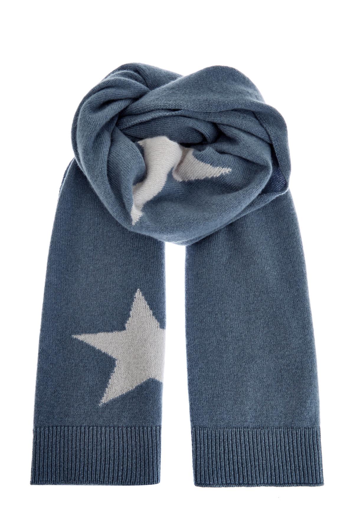Кашемировый шарф ручной работы синтарсийным узором ввиде звезд фото