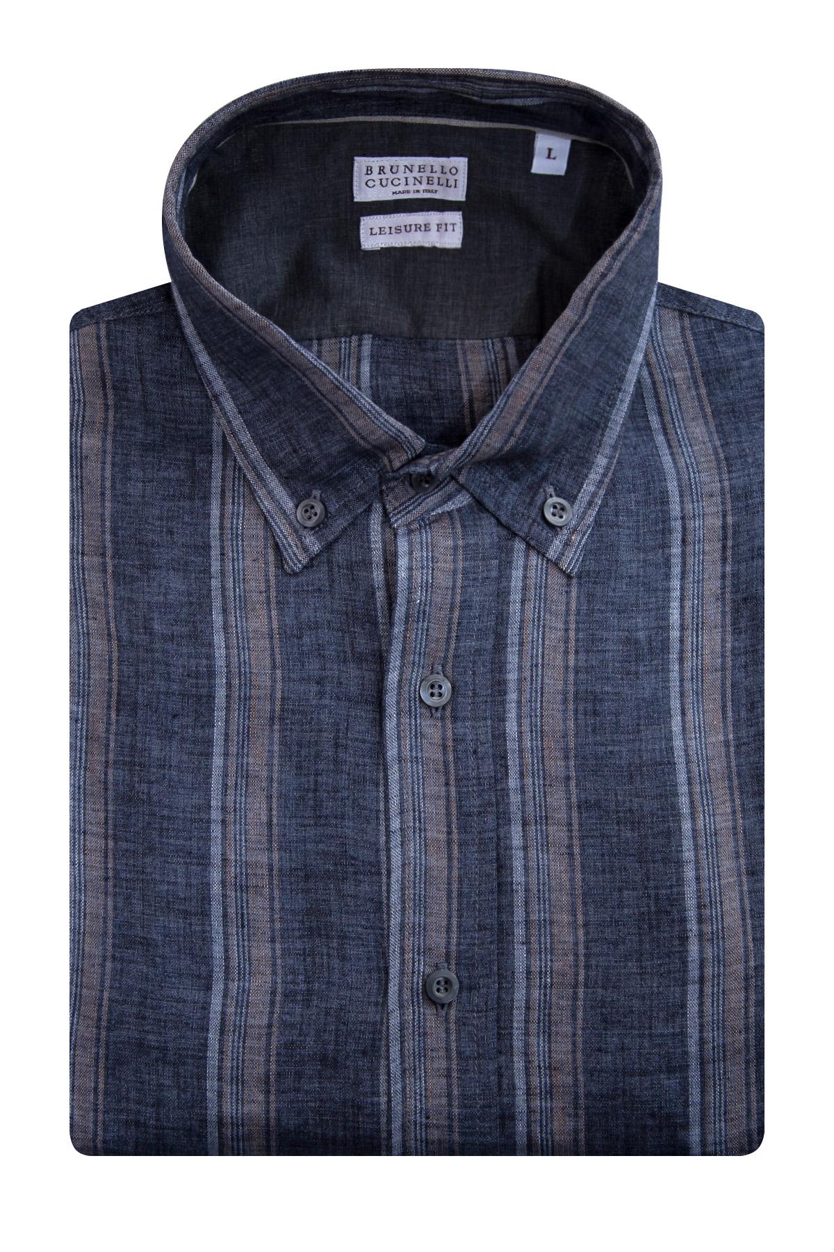 Купить Рубашка из льняного джерси с рисунком bande, BRUNELLO CUCINELLI, Италия, лен 100%
