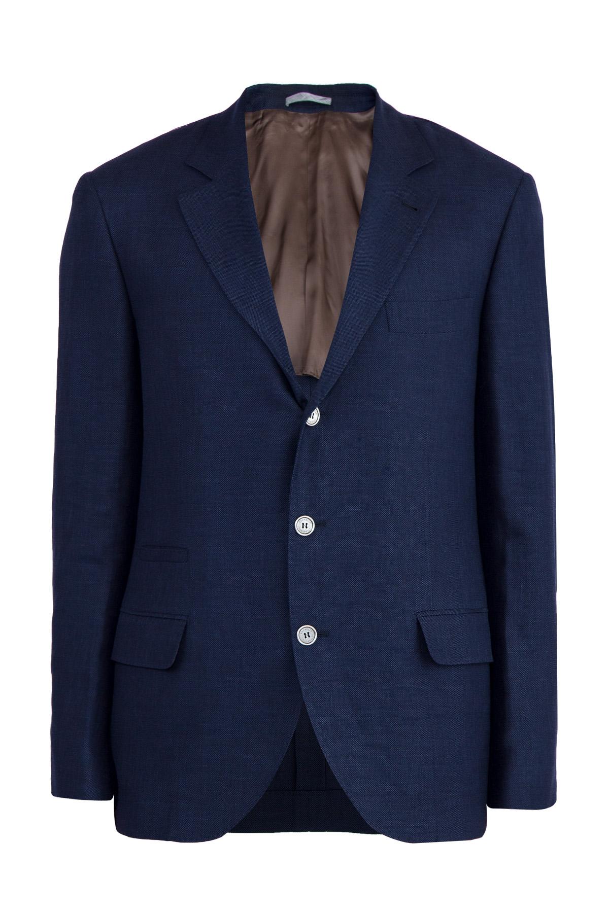 Фото #1: Пиджак из пряжи букле синего цвета с эффектом fiammato