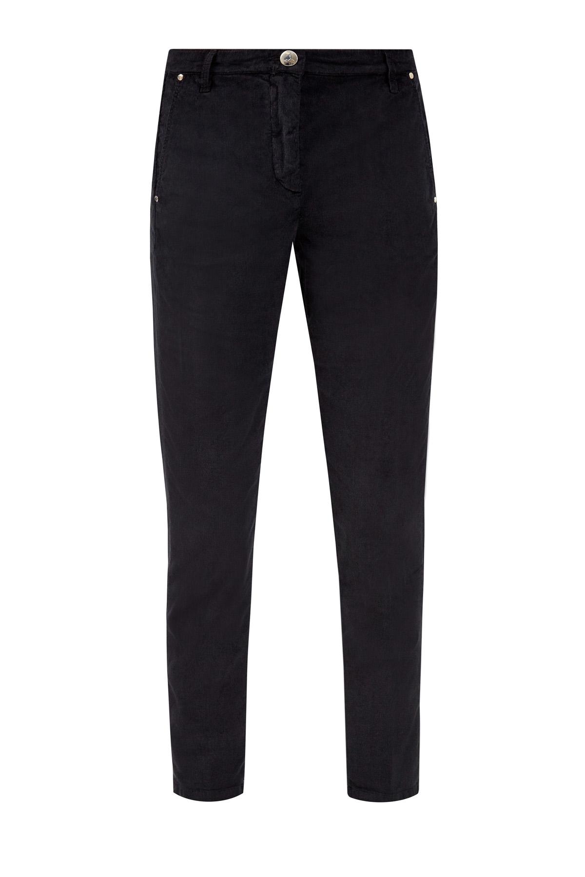 Вельветовые джинсы с нашивкой из меха пони