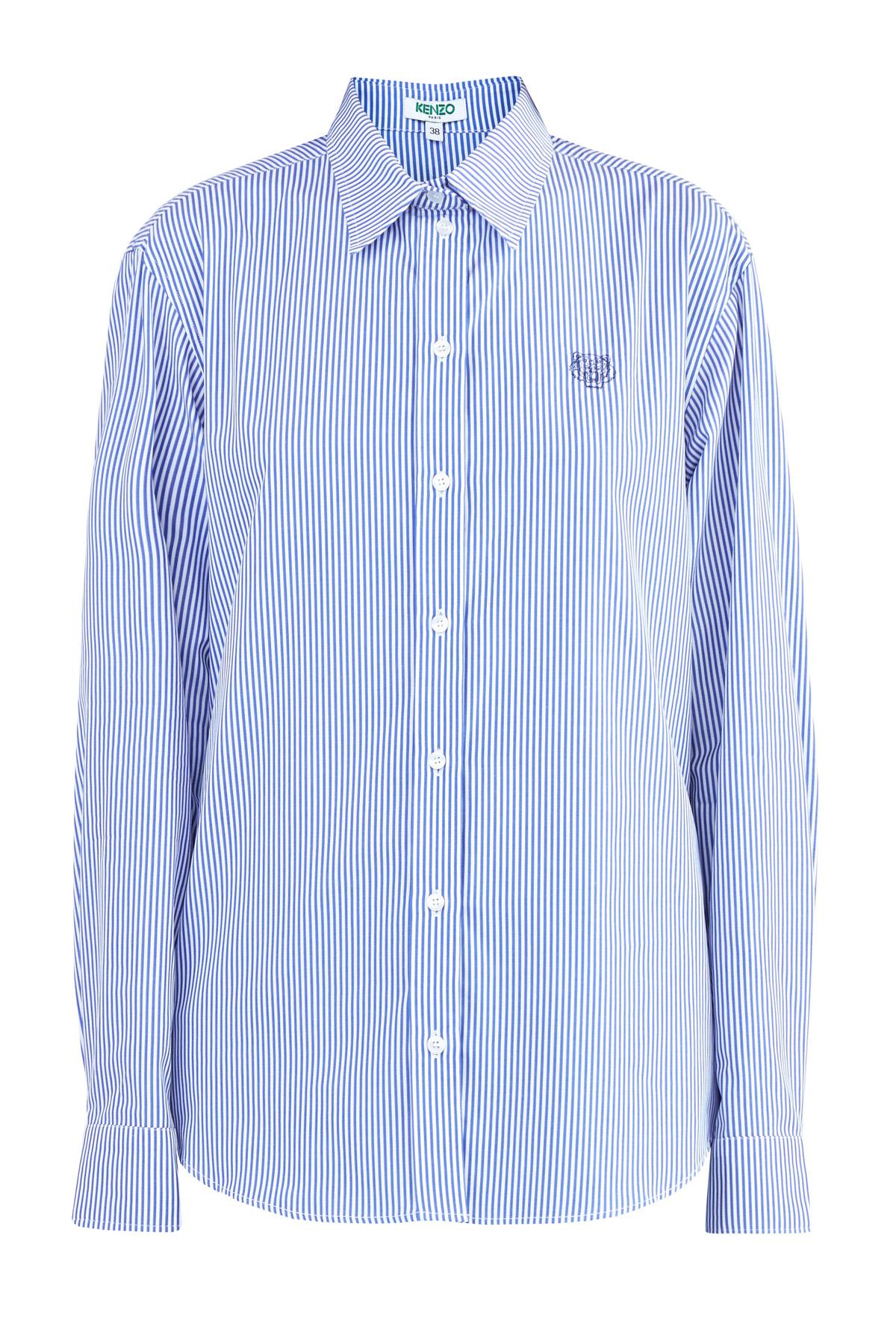 Классическая рубашка из хлопка с полосатым принтом в бело-синей гамме