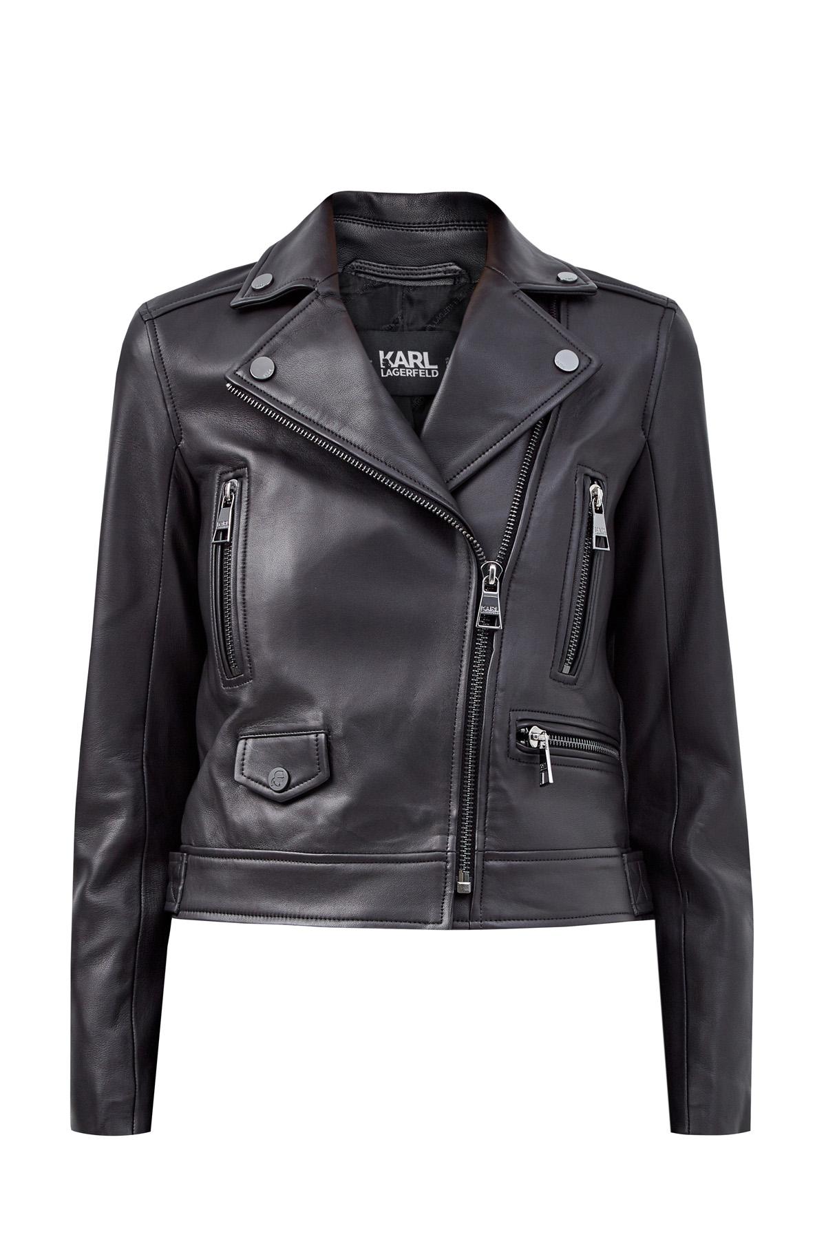 Куртка в байкерском стиле из кожи ягненка фото