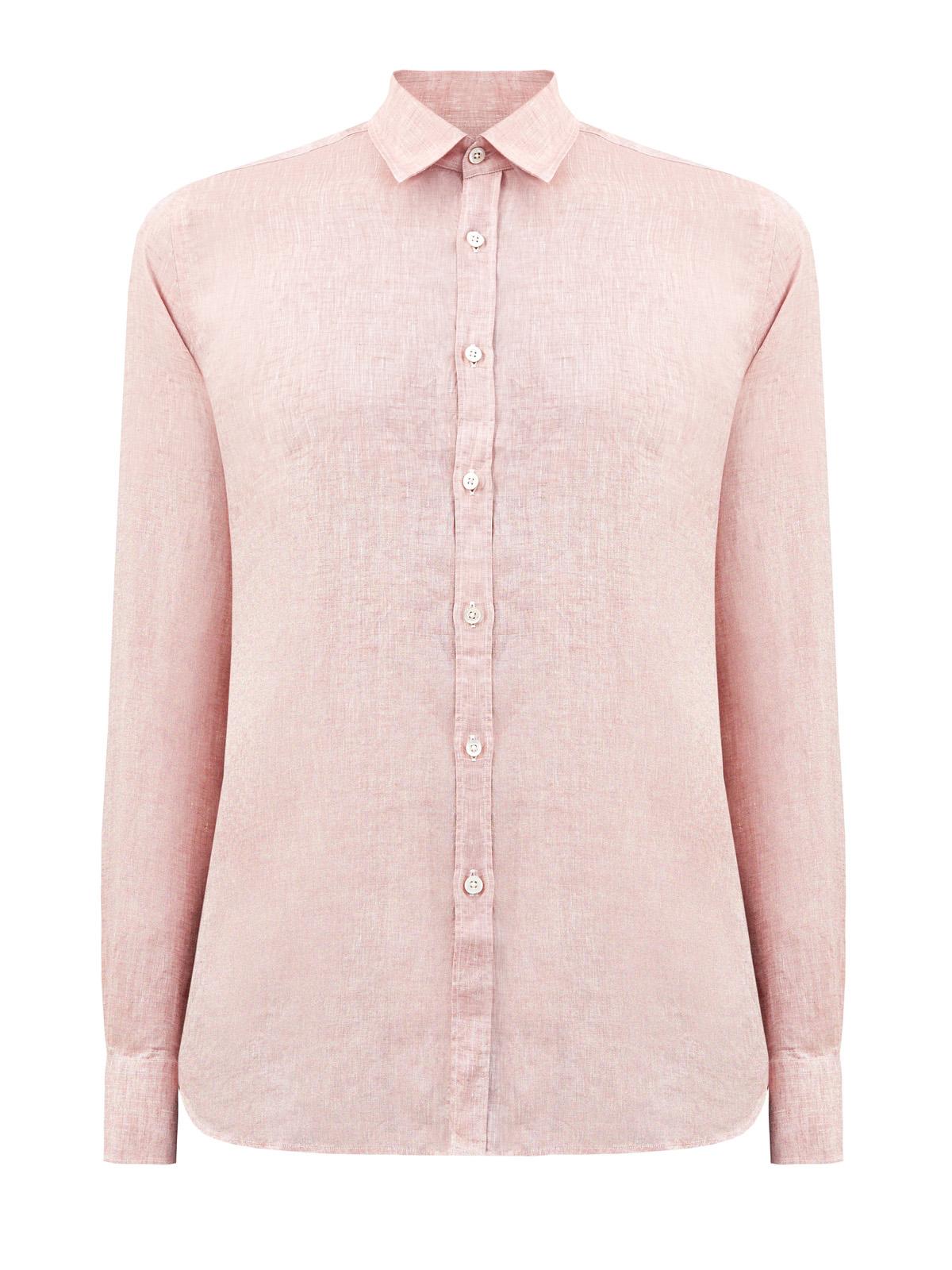 Рубашка из дышащего льна с меланжевым эффектом