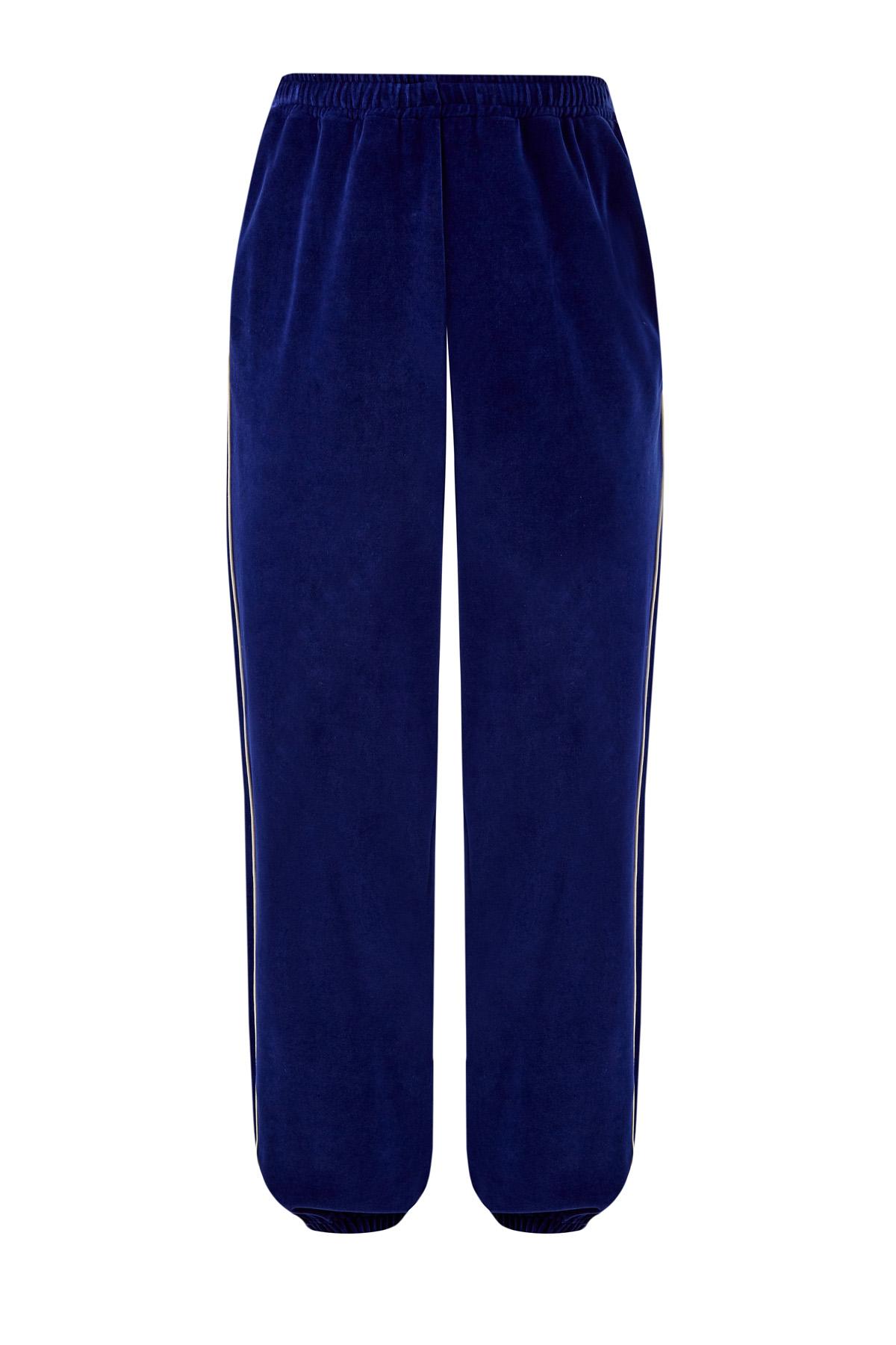 Объемные брюки-джоггеры из бархатного шенилла фото