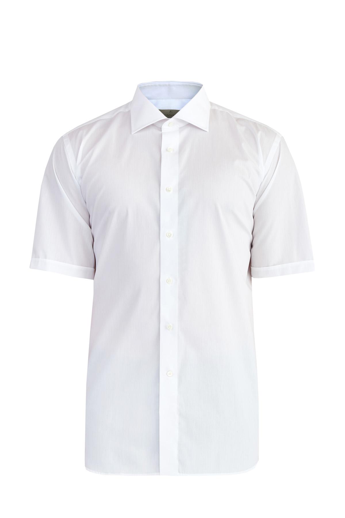 Базовая белая рубашка с коротким рукавом из поплина Impeccabile
