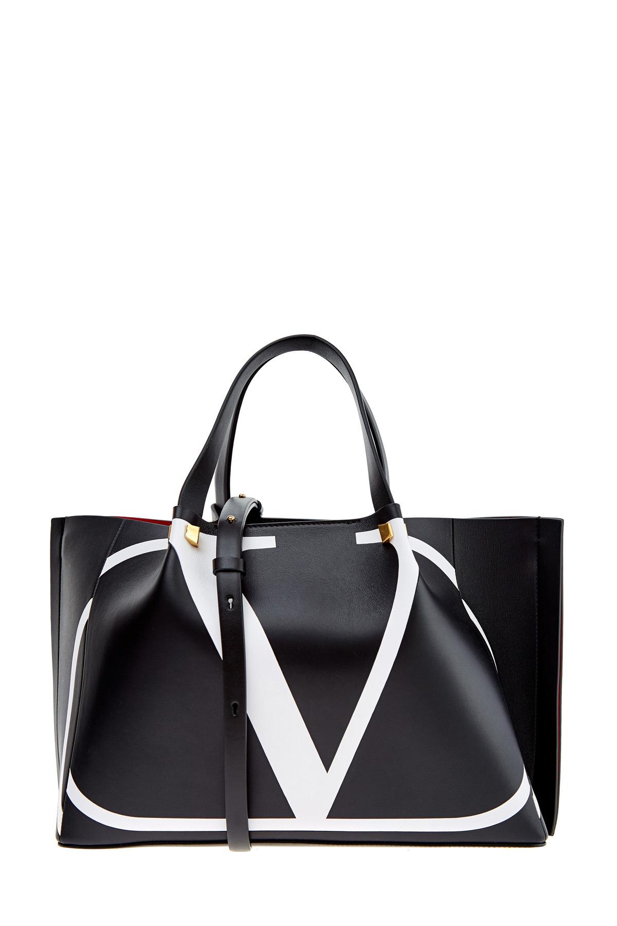 Купить со скидкой Структурированная сумка-тоут из матовой кожи с интарсией VLOGO