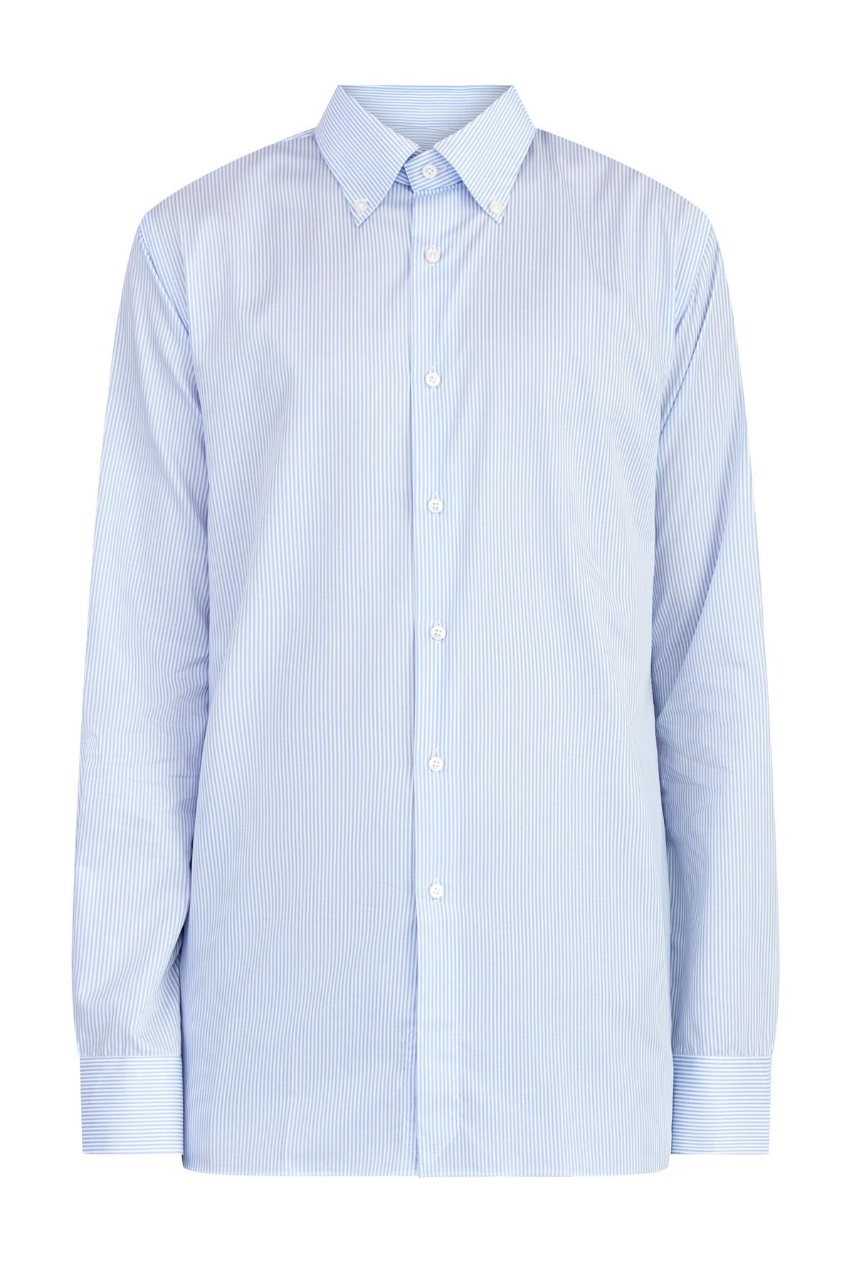 Рубашка из поплина Wrinkle Free с принтом бело-голубую в полоску
