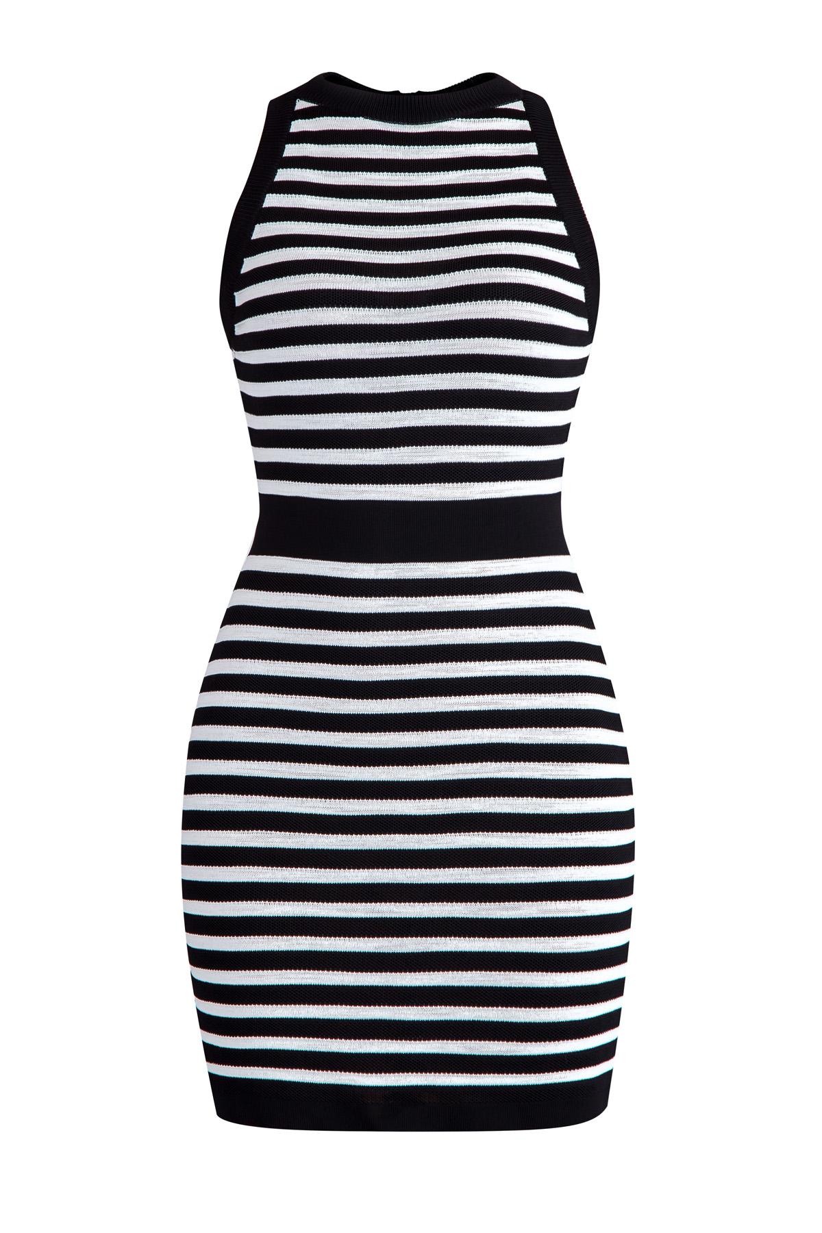 Купить со скидкой Платье-мини без рукавов с вязаным узором в черно-белую полоску