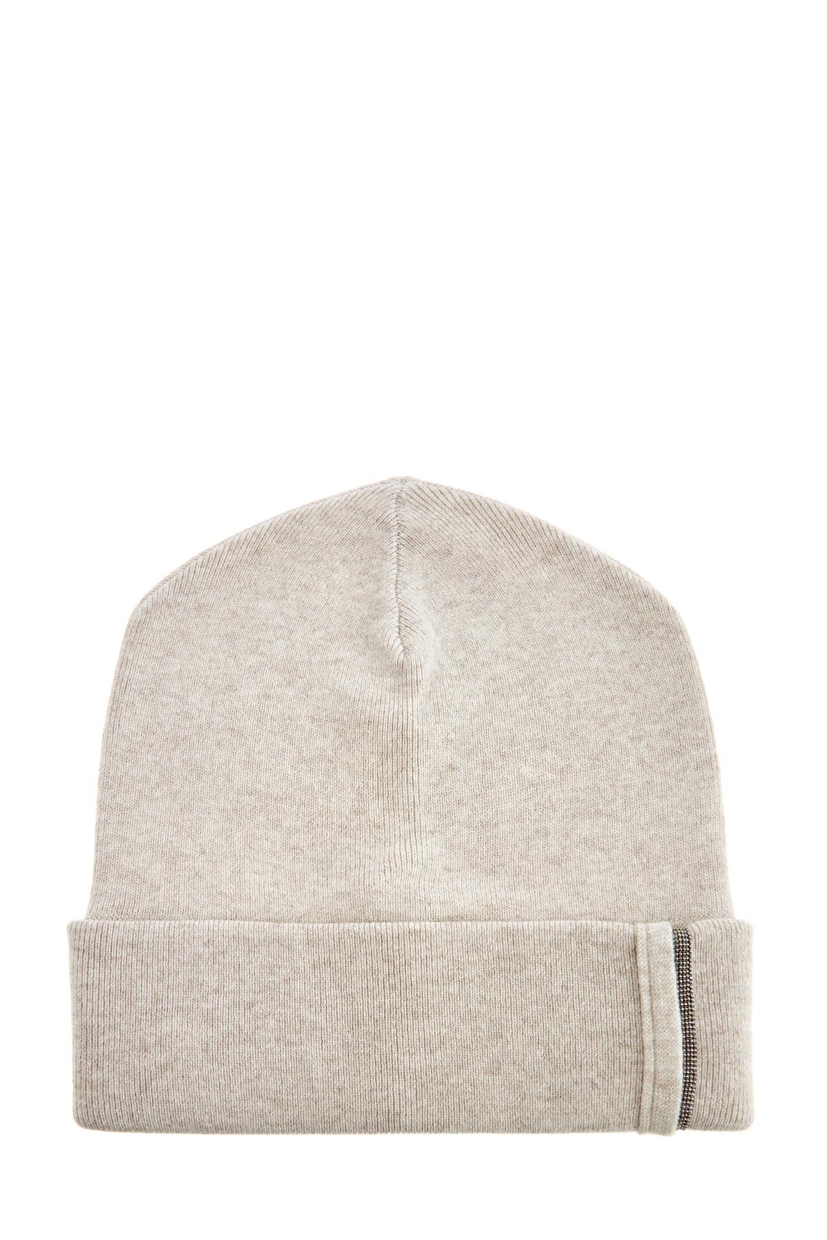 Фактурная шапка изкашемира сшироким отворотом ицепочкой Мониль фото