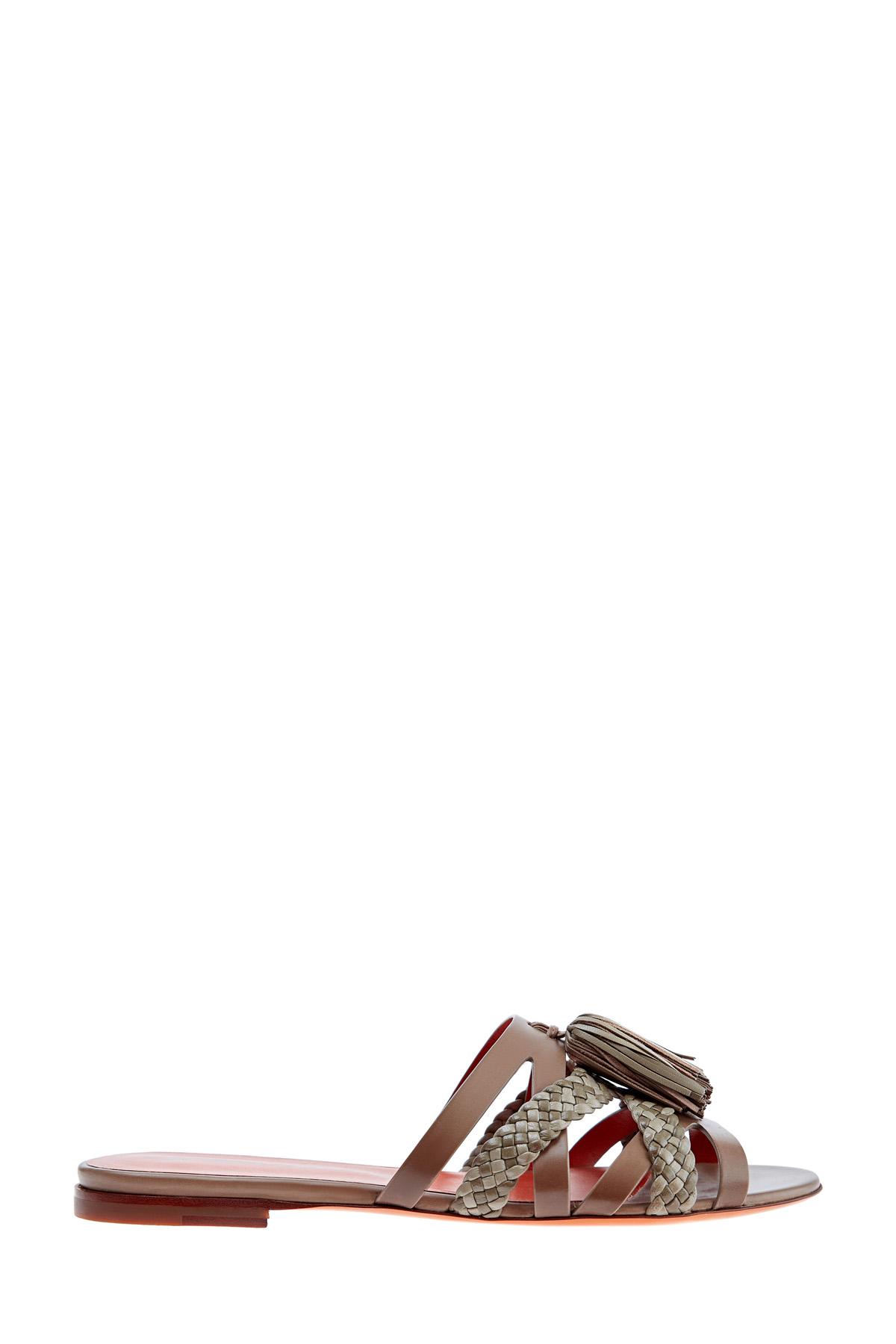 Шлепанцы из кожи с плетеной отделкой и кисточками в стиле этно