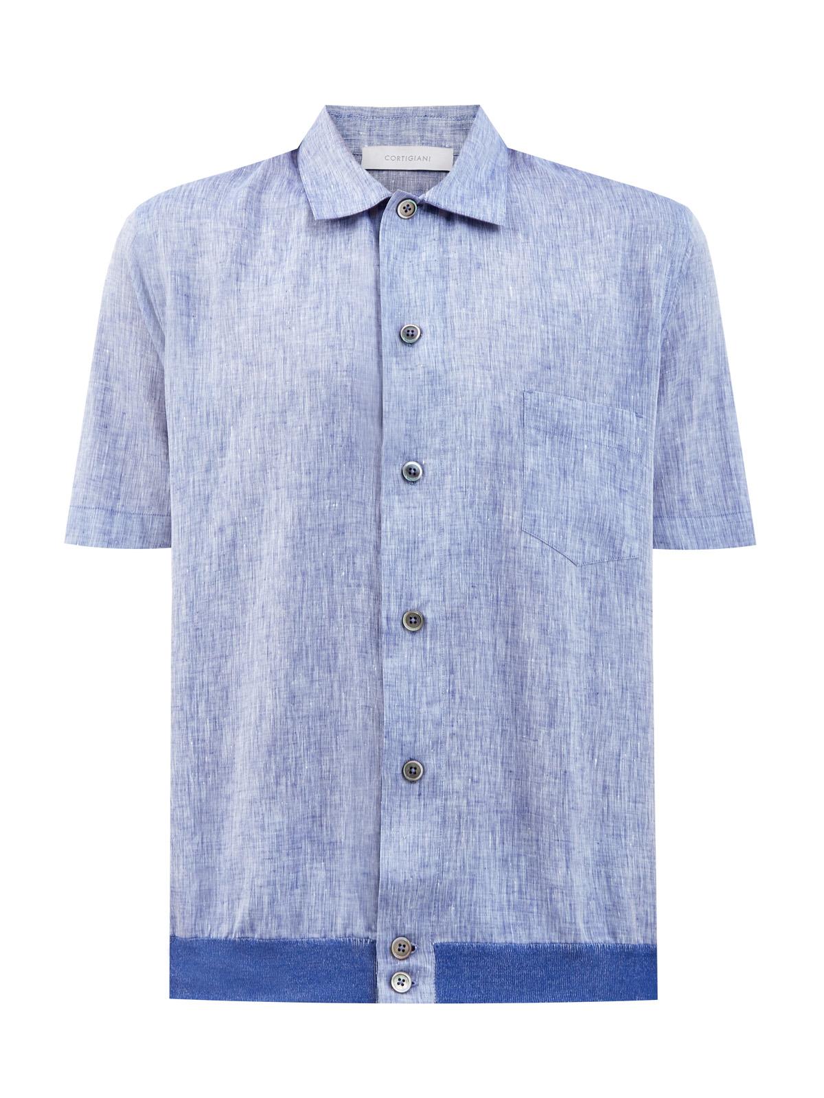 Льняная рубашка с короткими рукавами и контрастной отделкой