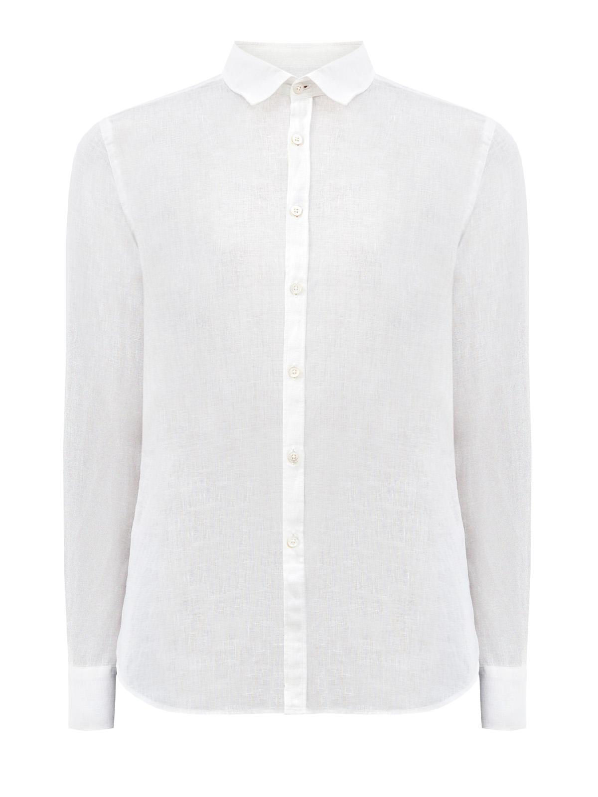 Белая рубашка из тонкой льняной ткани