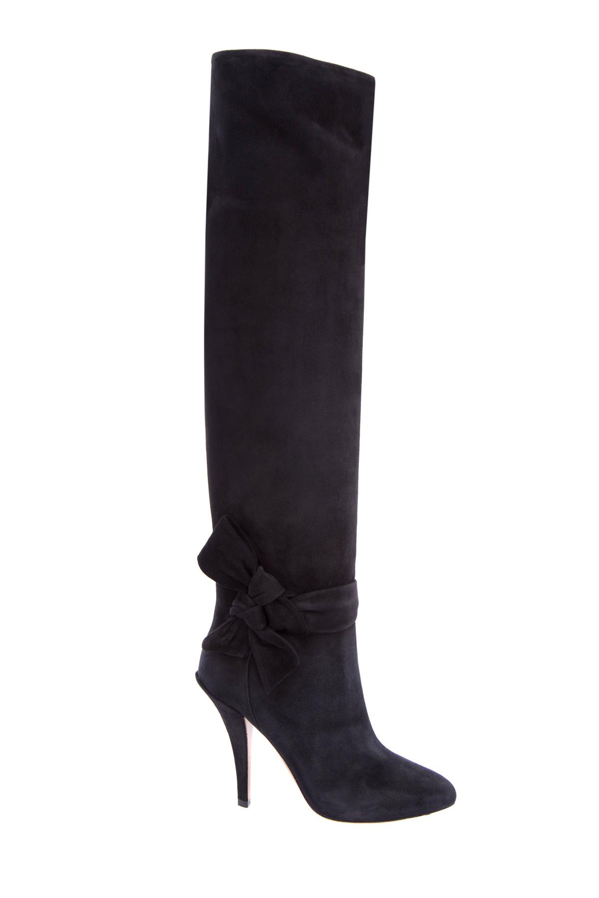 Черные замшевые ботфорты на каблуке с бантами