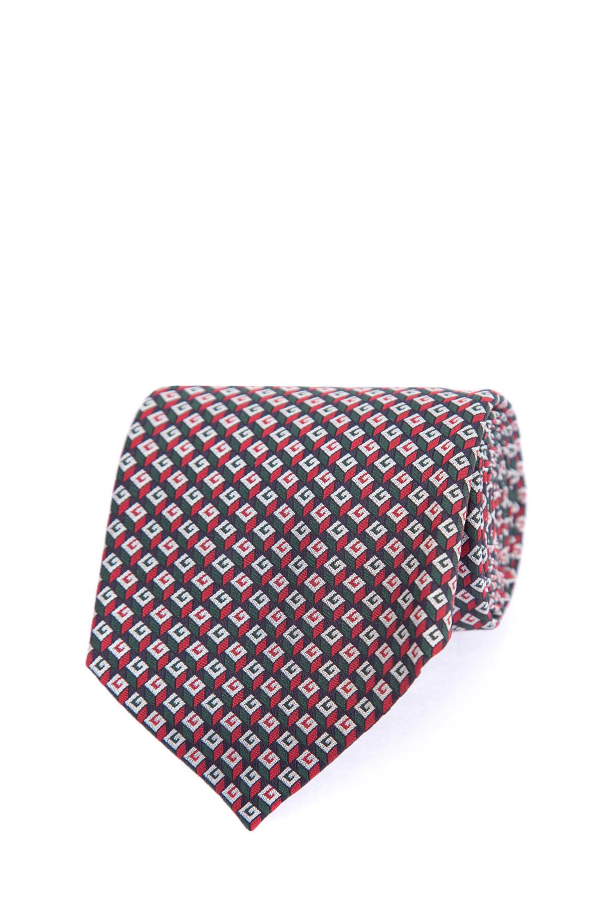 Купить Шелковый галстук с повторяющимся геометрическим 3D узором, вдохновленным красочными принтами 70-х годов, GUCCI, Италия, шелк 100%