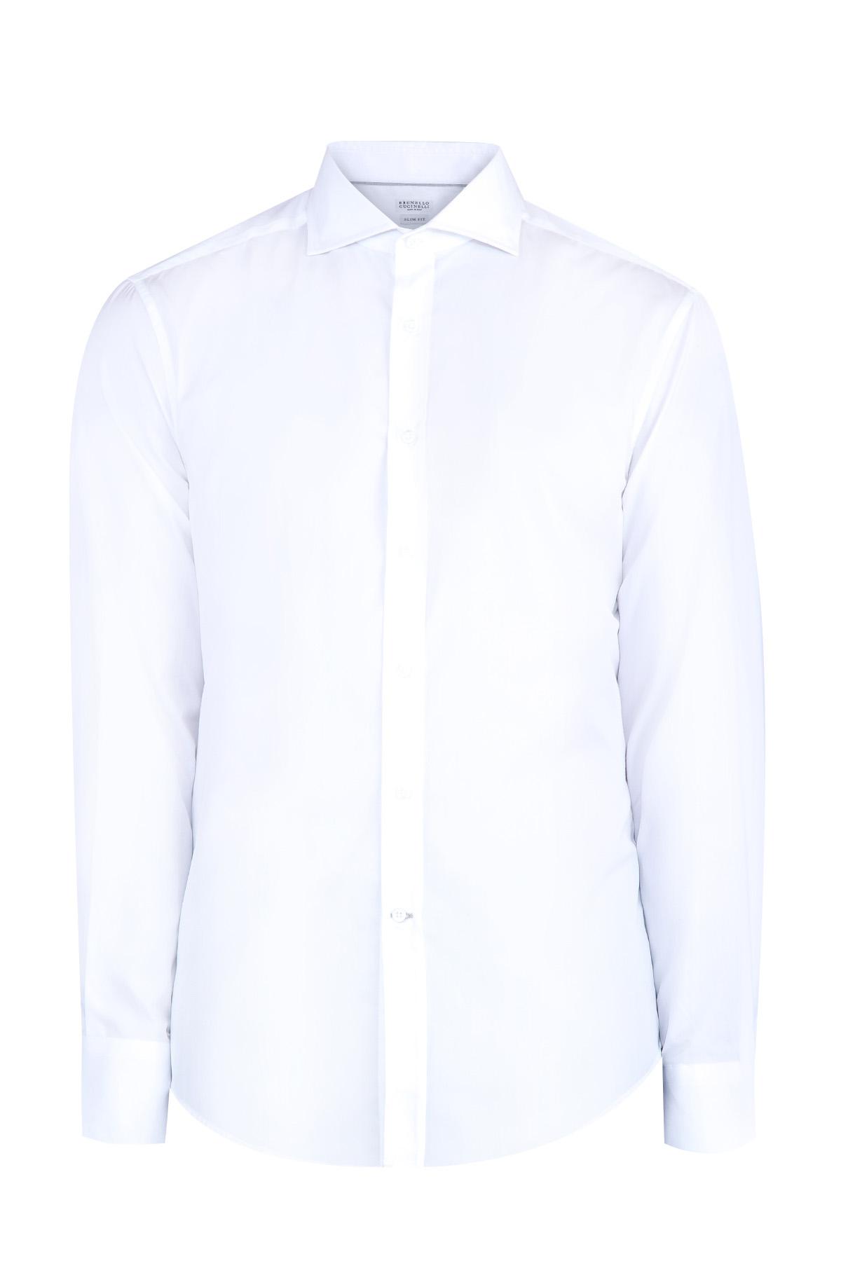 Купить Классическая рубашка с длинными рукавами и воротом для галстука, BRUNELLO CUCINELLI, Италия, хлопок 100%
