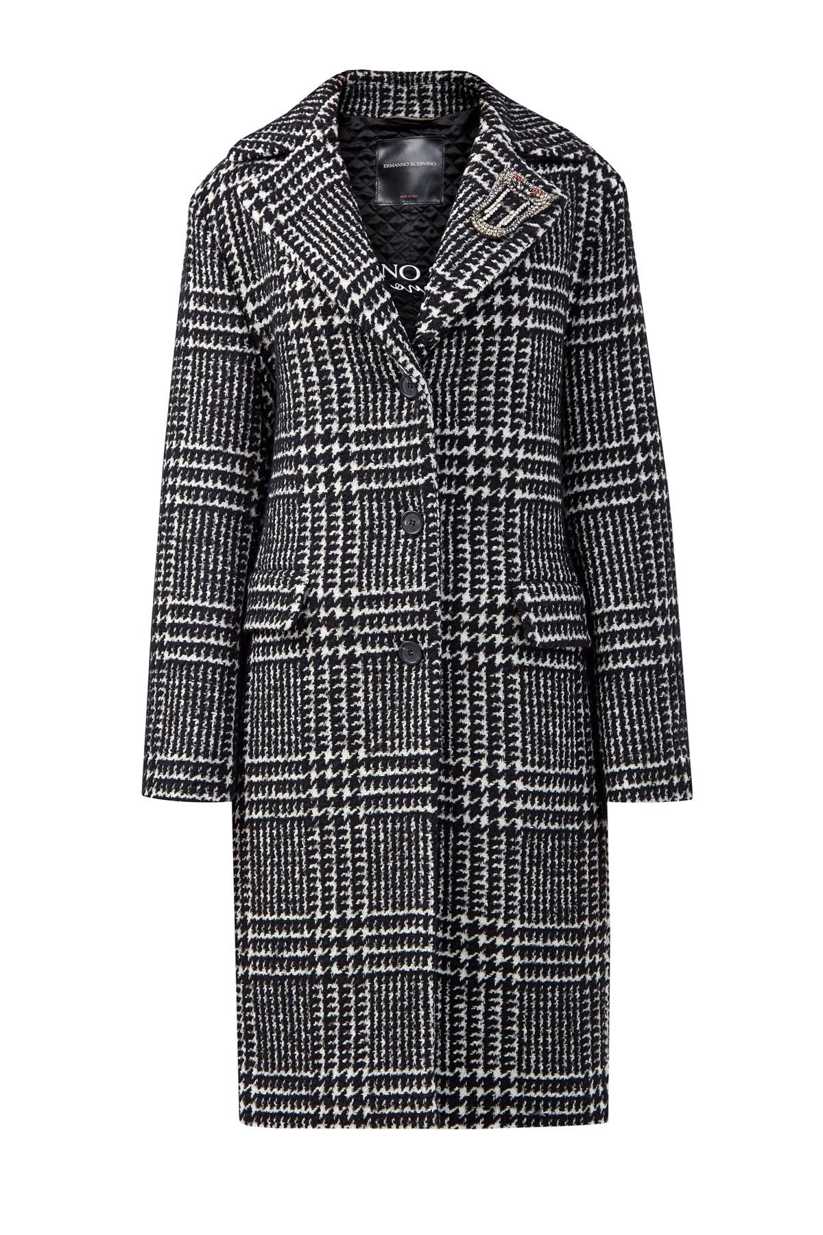 Пальто из шерстяного драпа с брошью из кристаллов фото
