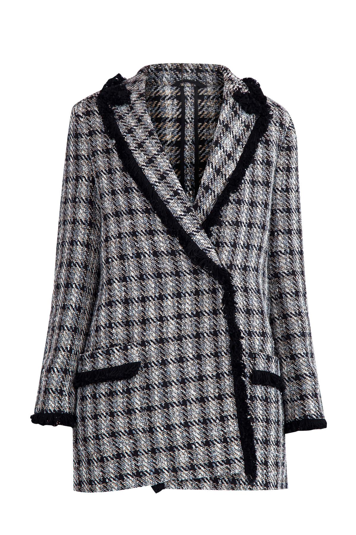 Укороченное пальто из джутовой нити и хлопка в черно-белой гамме