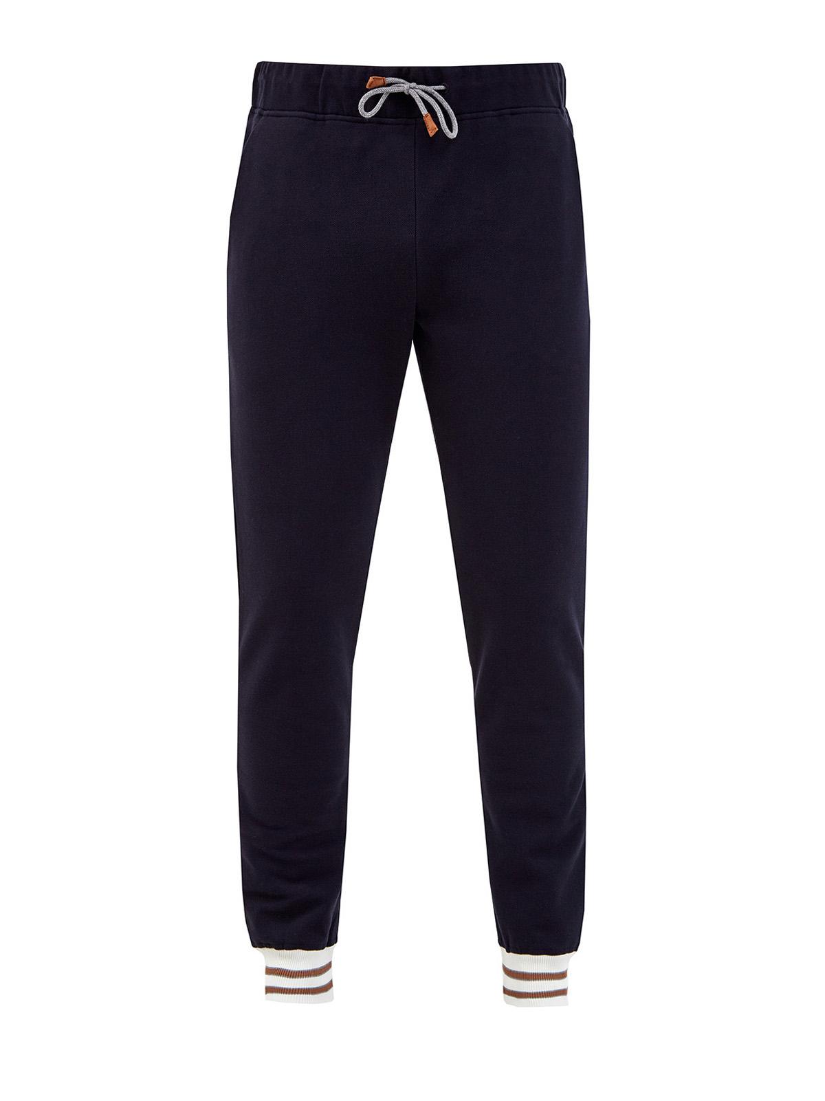 Хлопковые брюки-джоггеры с контрастными манжетами