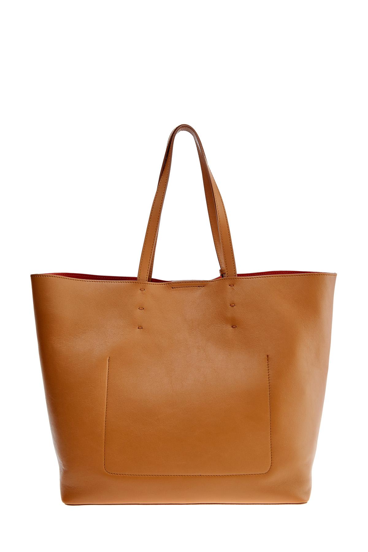 Вместительная сумка-тоут из матовой гладкой кожи с брелоком-кистью SANTONI 1822ba c70 Фото 5