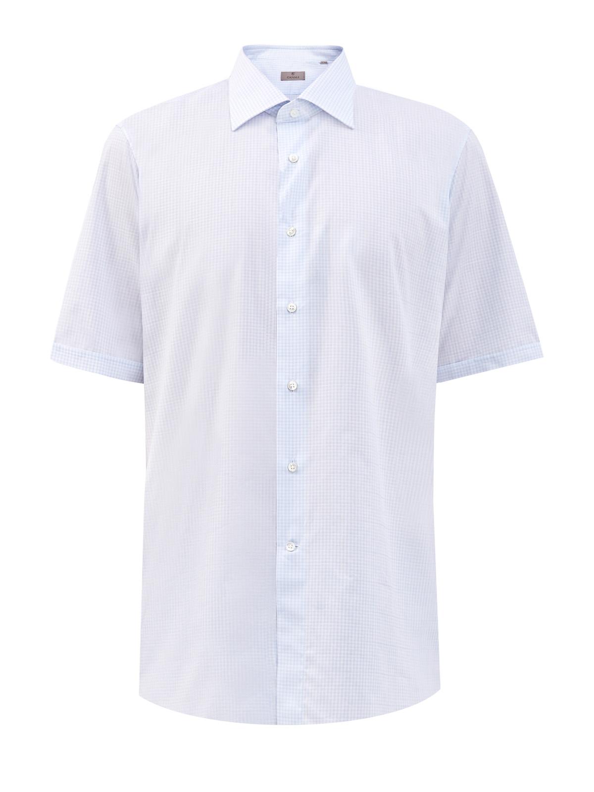 Хлопковая рубашка Modern Fit с микро-принтом в клетку виши