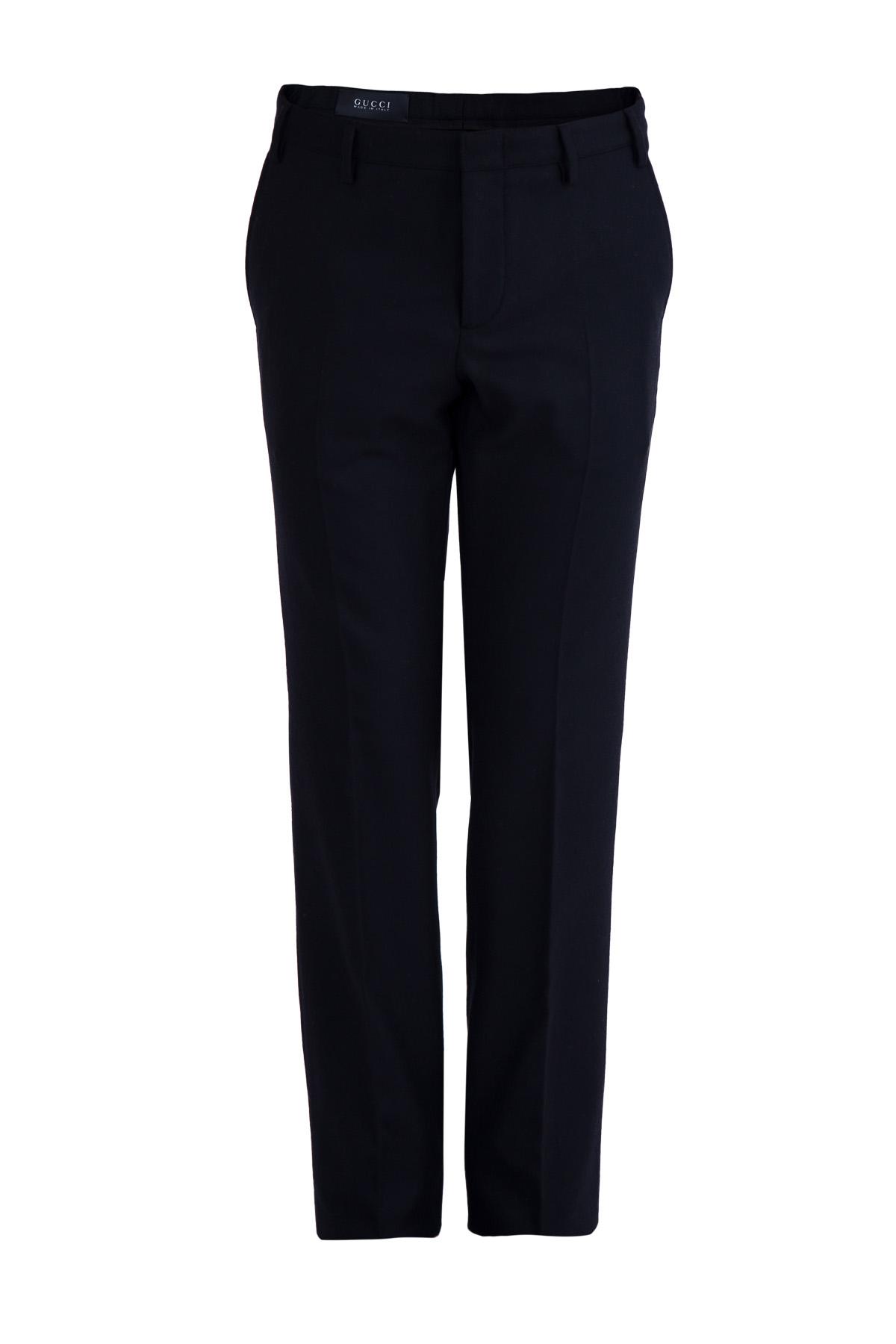 Черные брюки из костюмной шерстяной ткани фото