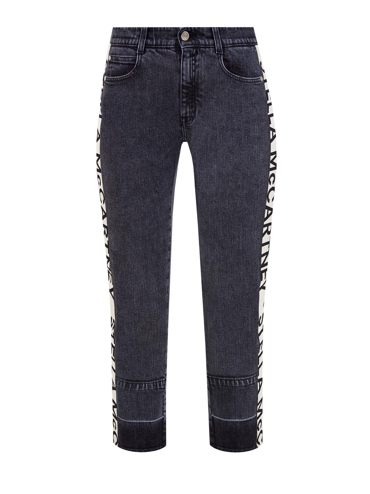 Серые джинсы из денима с контрастными лампасами