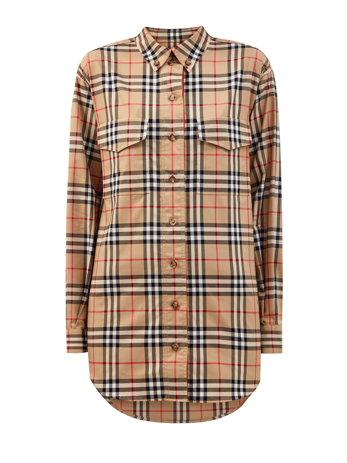 Удлиненная рубашка из хлопка с принтом Vintage Check