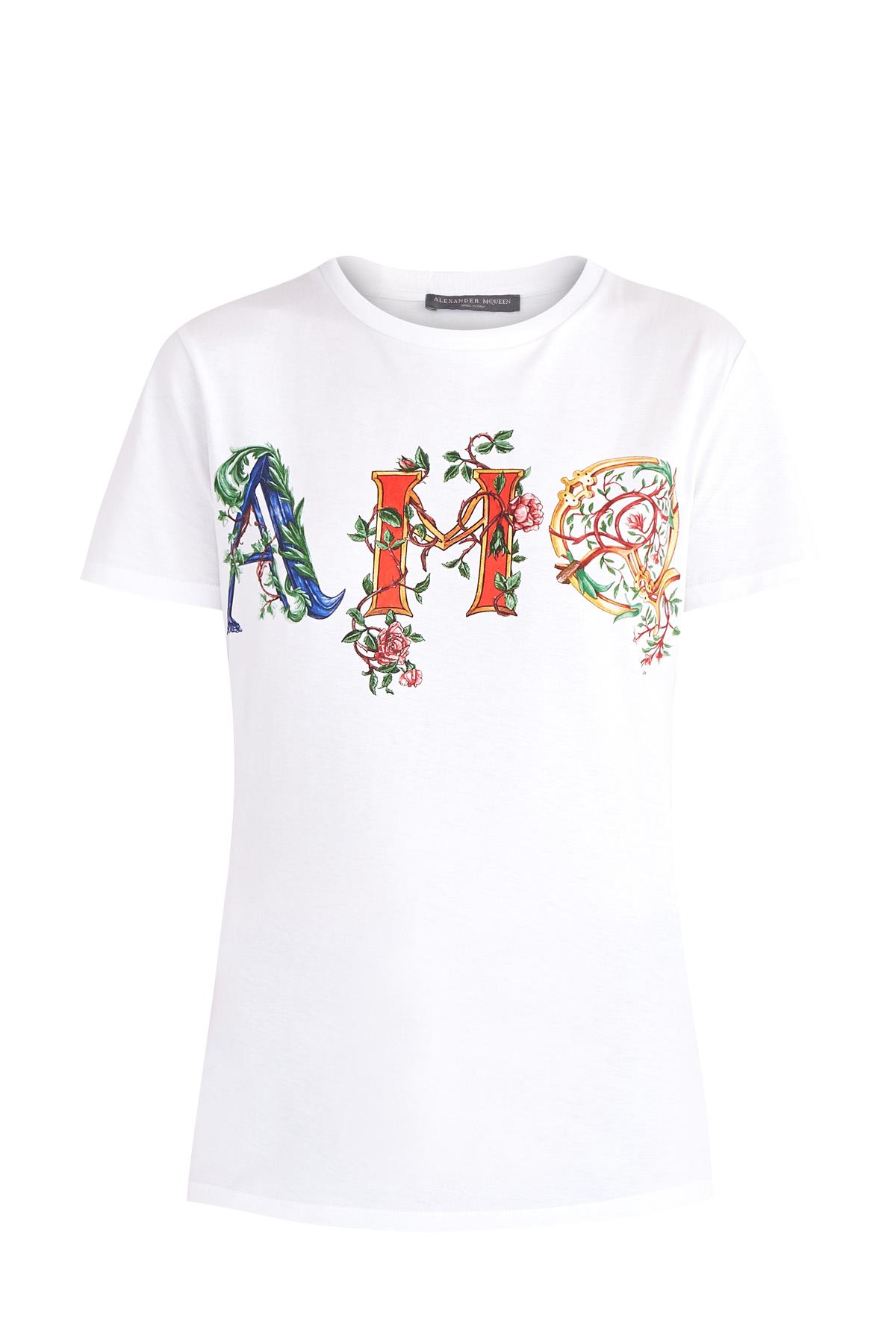 Купить Базовая футболка из хлопка с принтом AMQ в фирменном стиле, ALEXANDER MCQUEEN, Италия, хлопок 100%