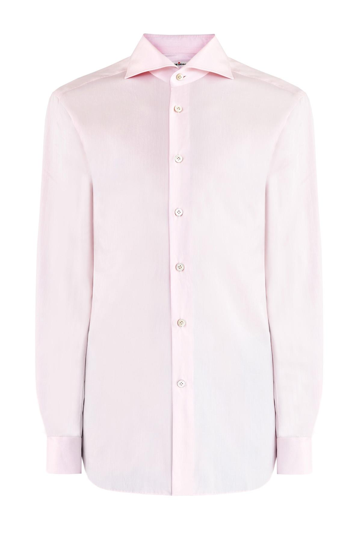 Однотонная рубашка в классическом стиле из хлопка