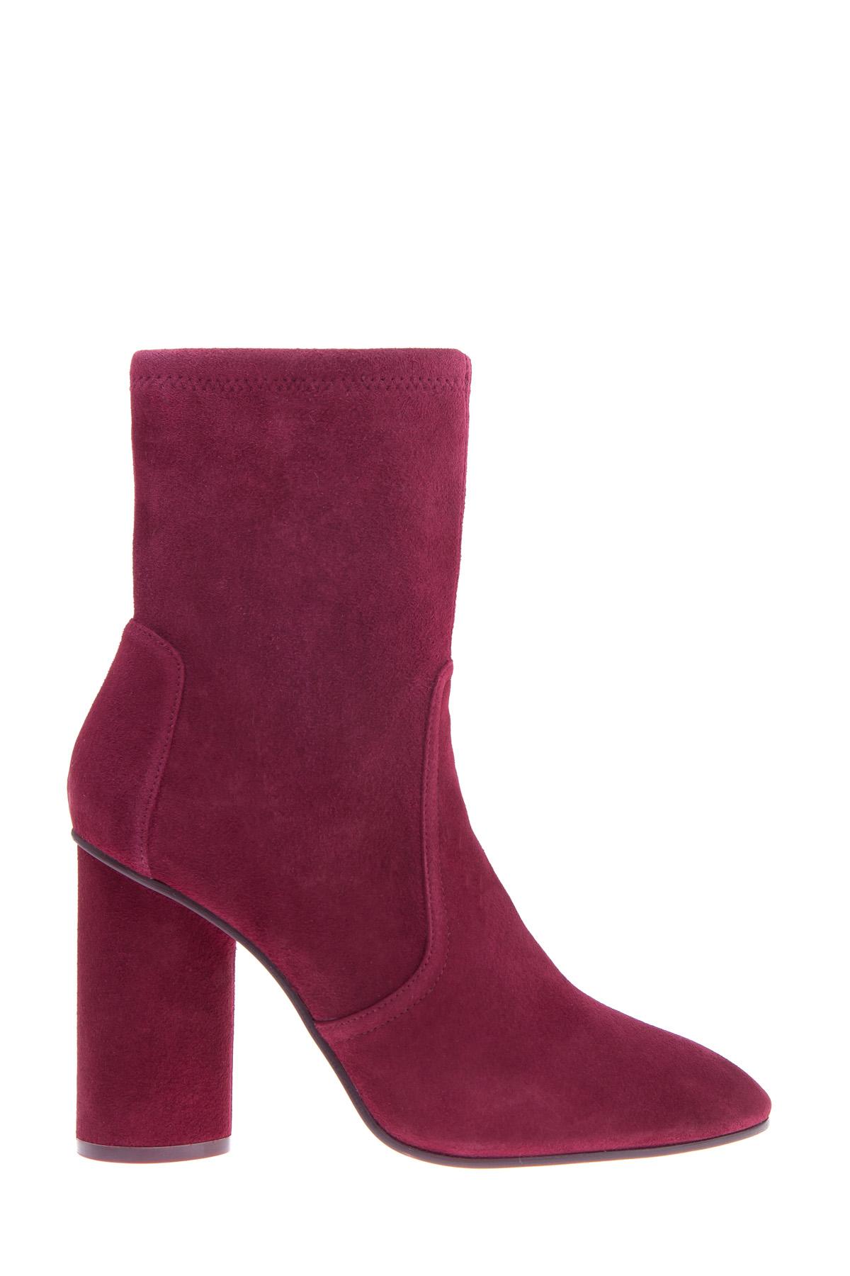Ботильоны-носки Margot из замши бордового цвета на круглом каблуке