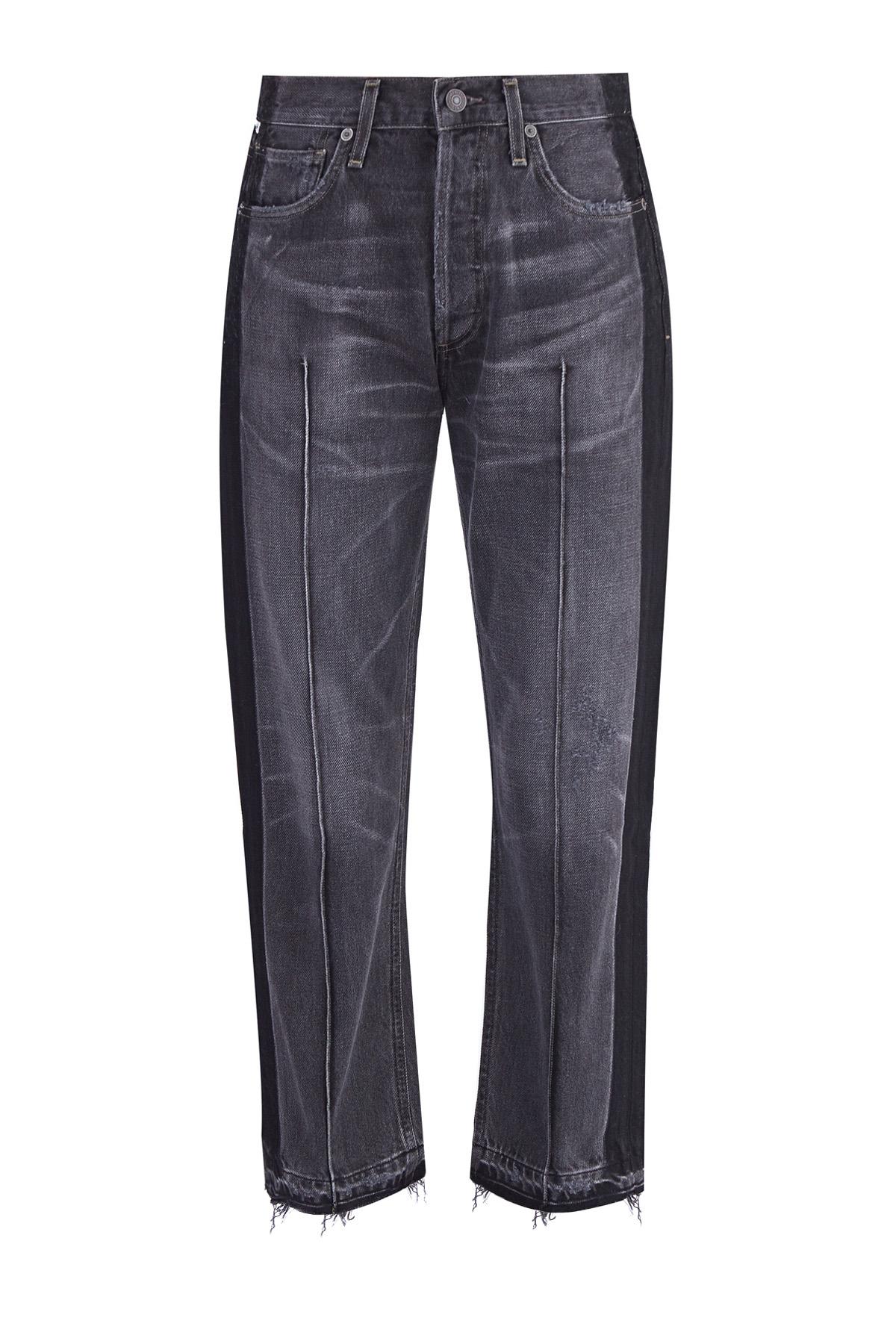 Широкие джинсы со сложным окрашиванием, бахромой и прошитыми стрелками