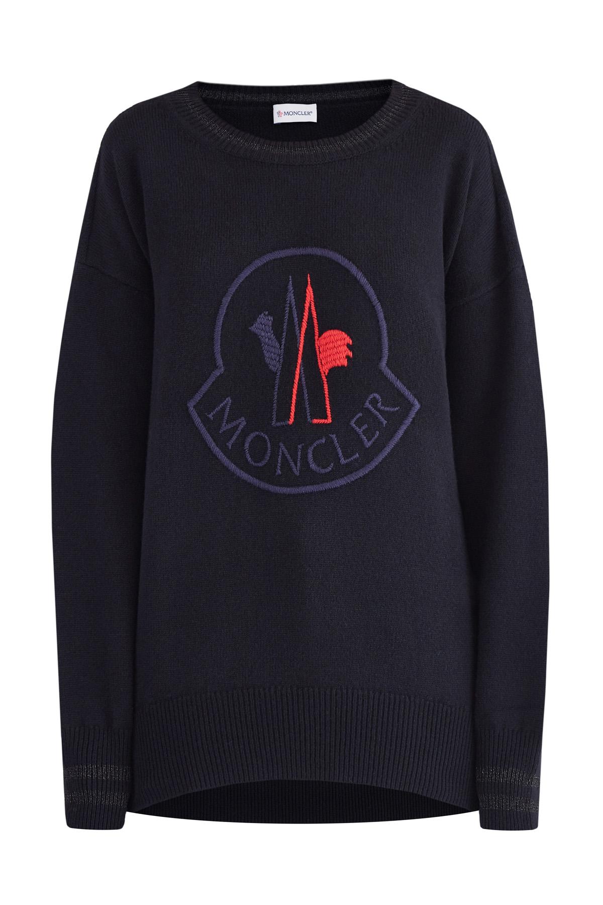Джемпер из шерсти и кашемира с вышитым макро-логотипом бренда фото